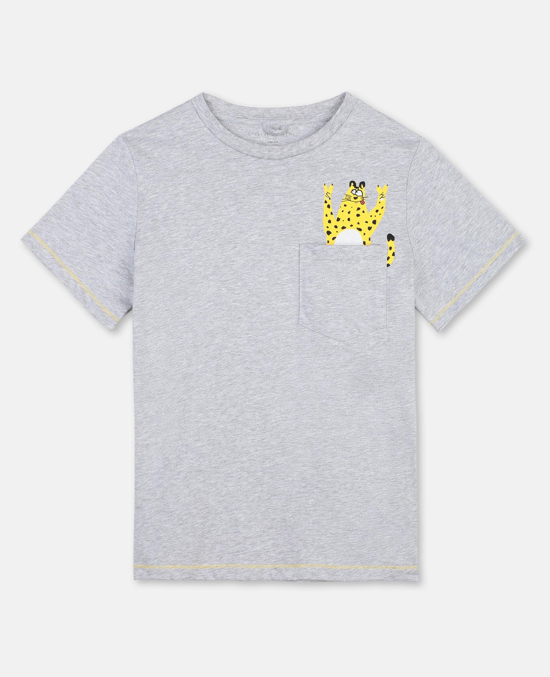 T-Shirt in Cotone con Ghepardo-Grigio-large image number 0