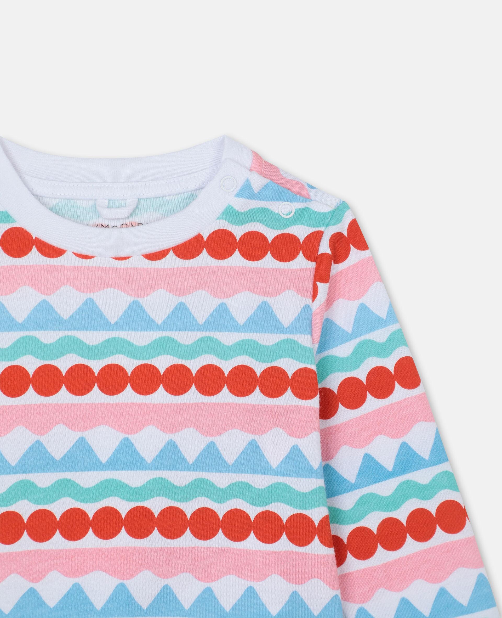 图形感条纹棉质 T 恤-Multicolored-large image number 1