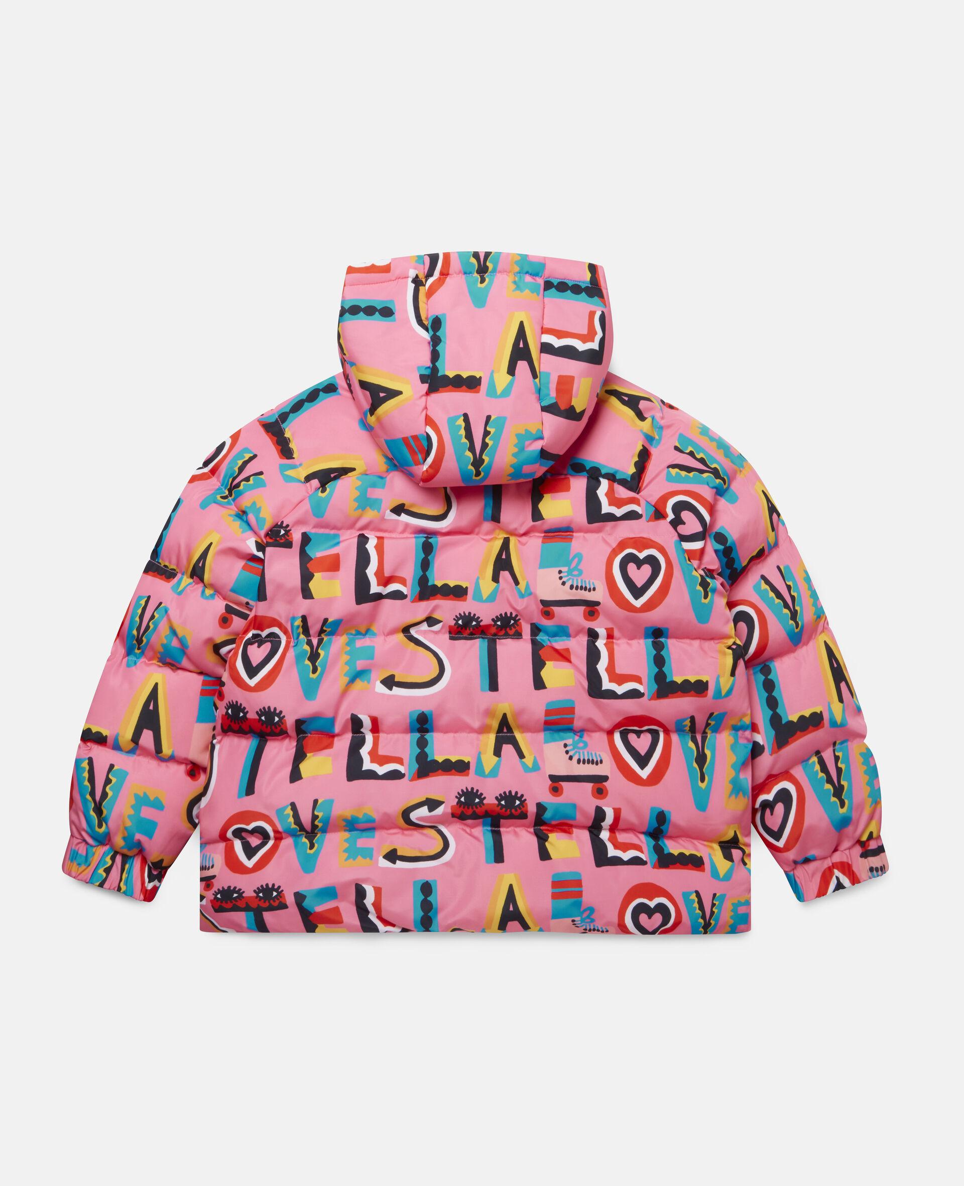 Stella Loves Hooded Puffer Jacket -Pink-large image number 3