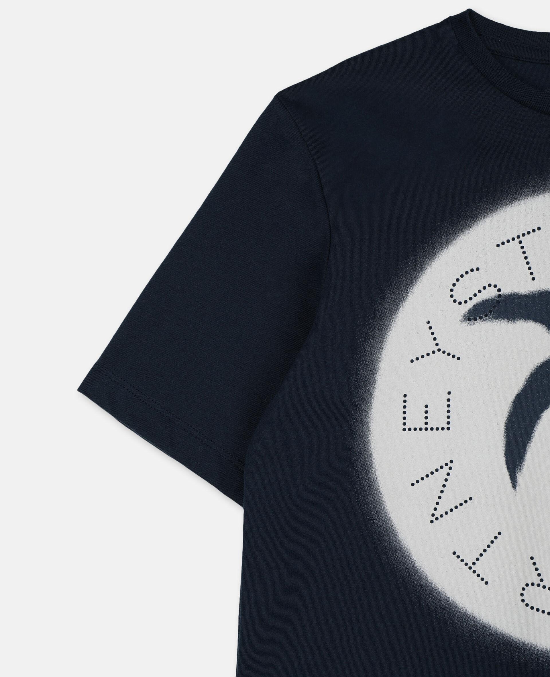 パーム オーバーサイズ コットン ロゴ Tシャツ-ブルー-large image number 2