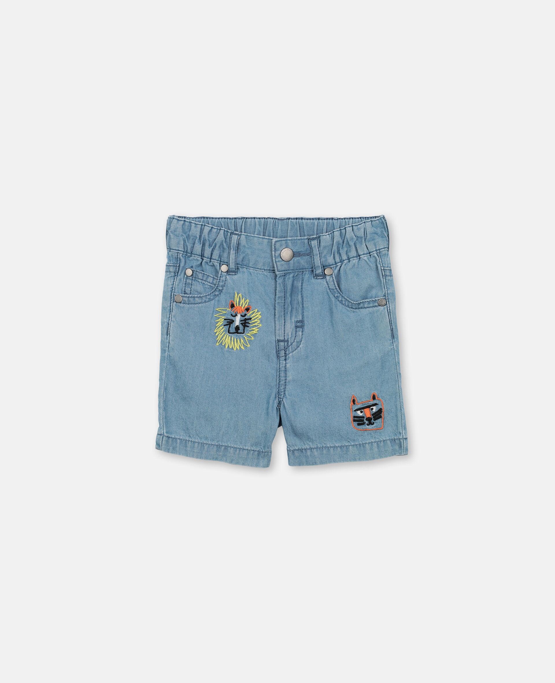 Short en chambray de coton à motif chats brodés -Bleu-large image number 0