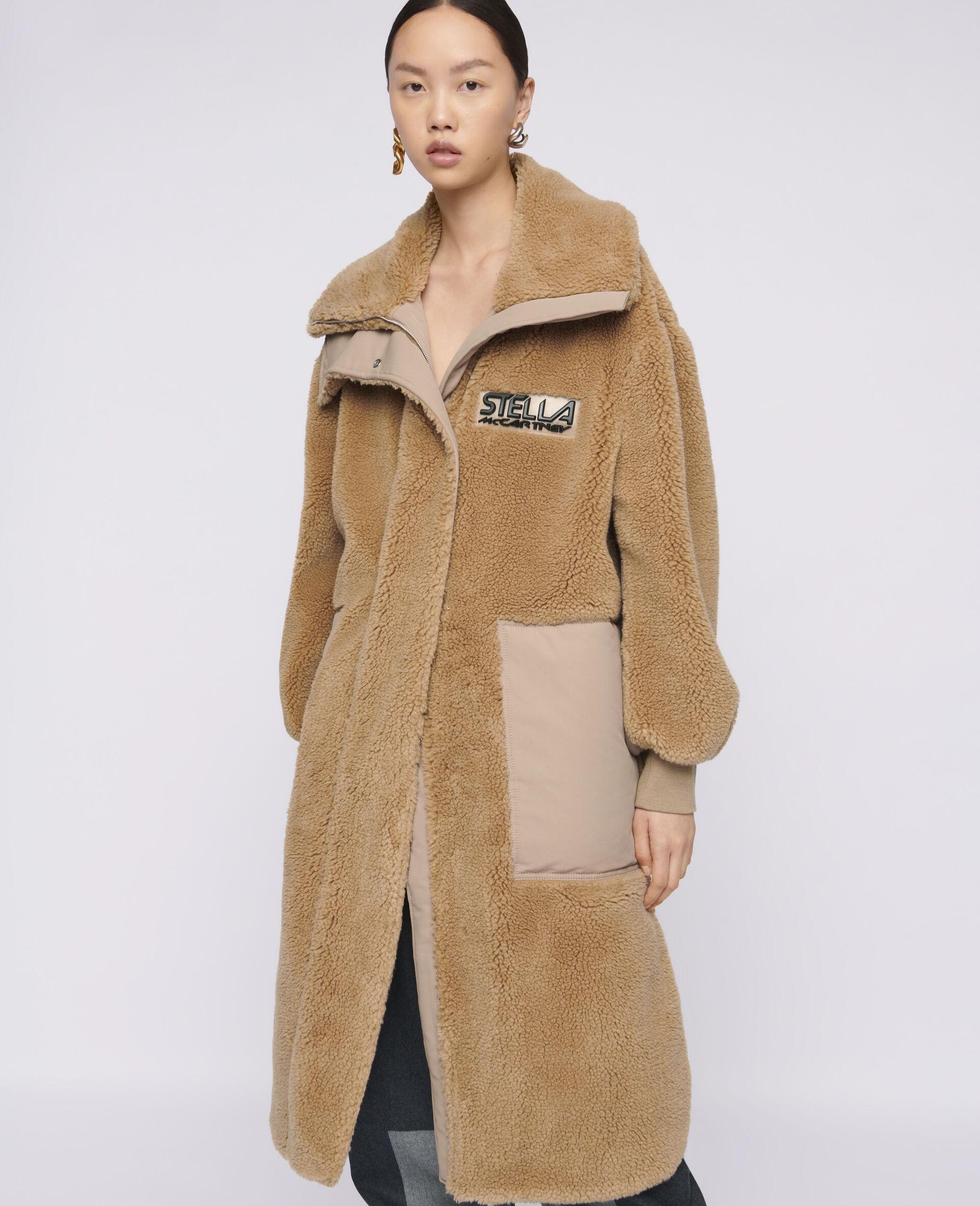 Luna Teddy Mat Coat-Brown-large image number 3