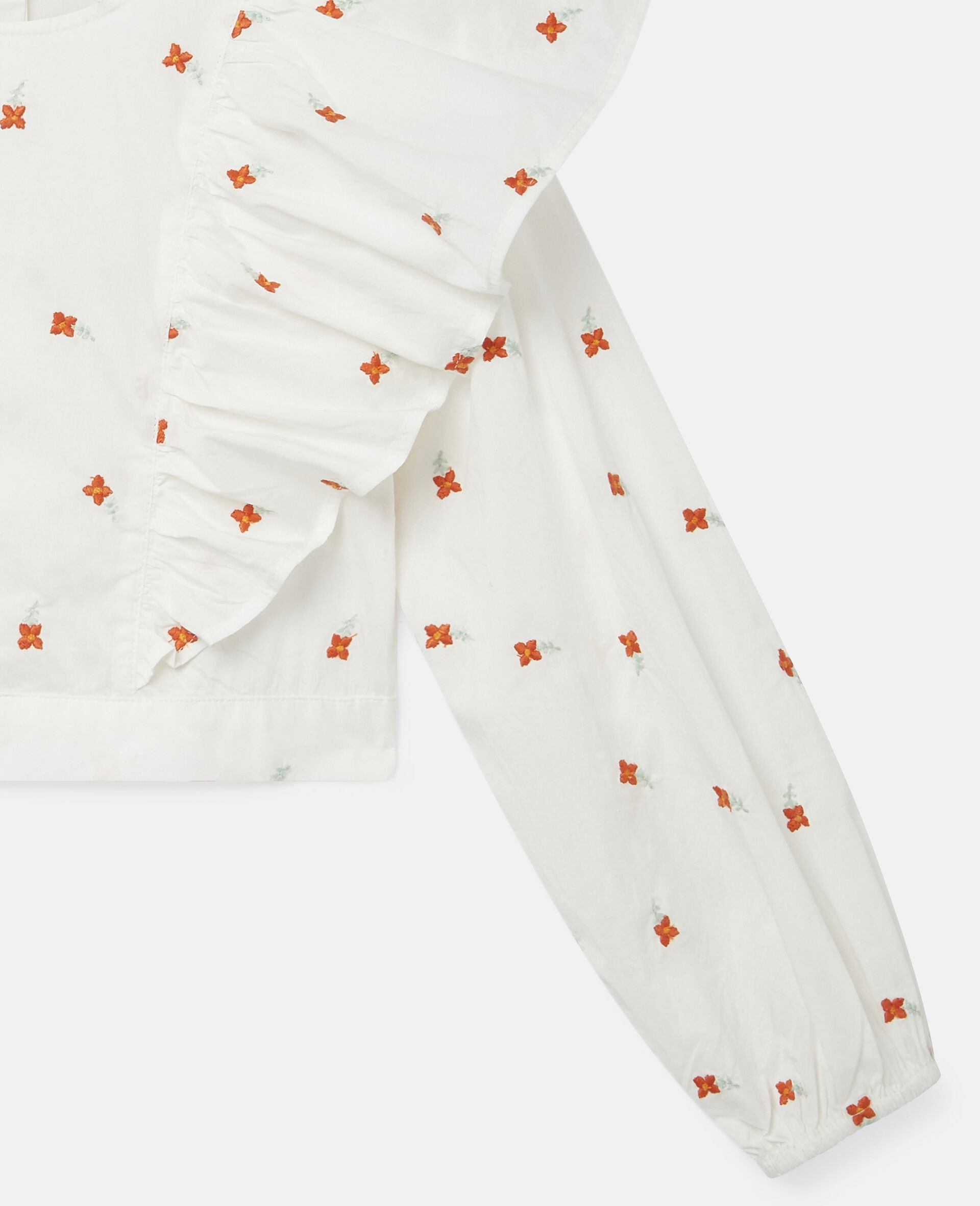Embroidered Flowers Cotton Top-White-large image number 2