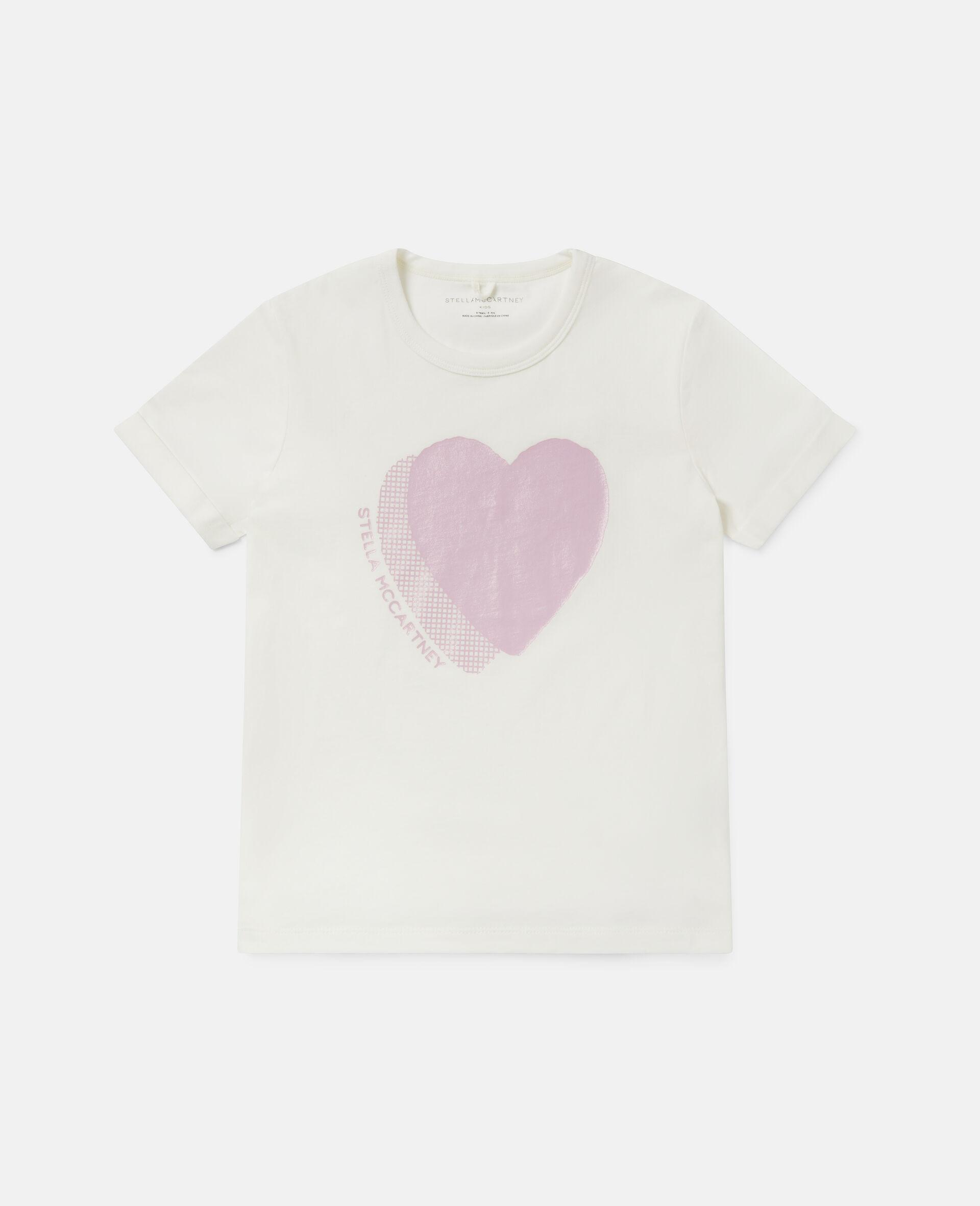 T-shirt en coton à logo cœur -Blanc-large image number 0