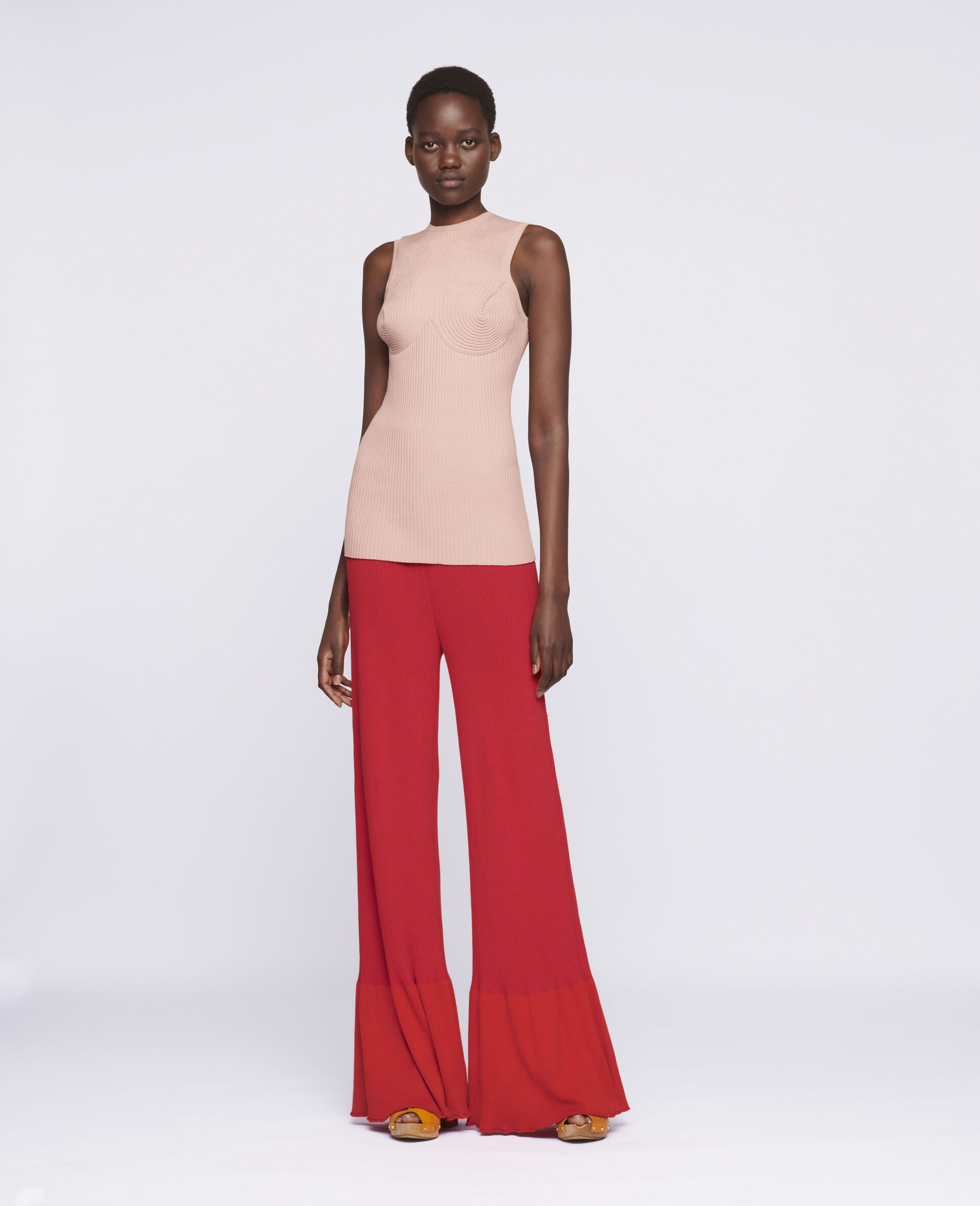 Flared Leg Trousers-Red-large image number 1