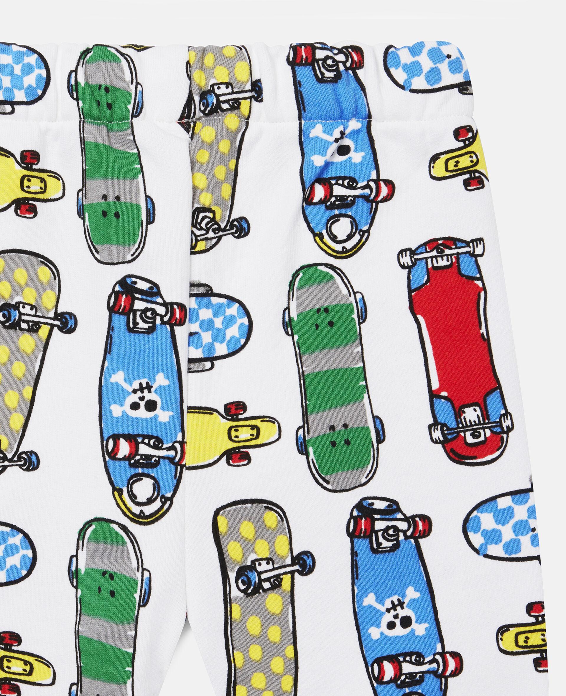 Fleece-Jogginghosen mit Skateboardmotiv-Weiß-large image number 2