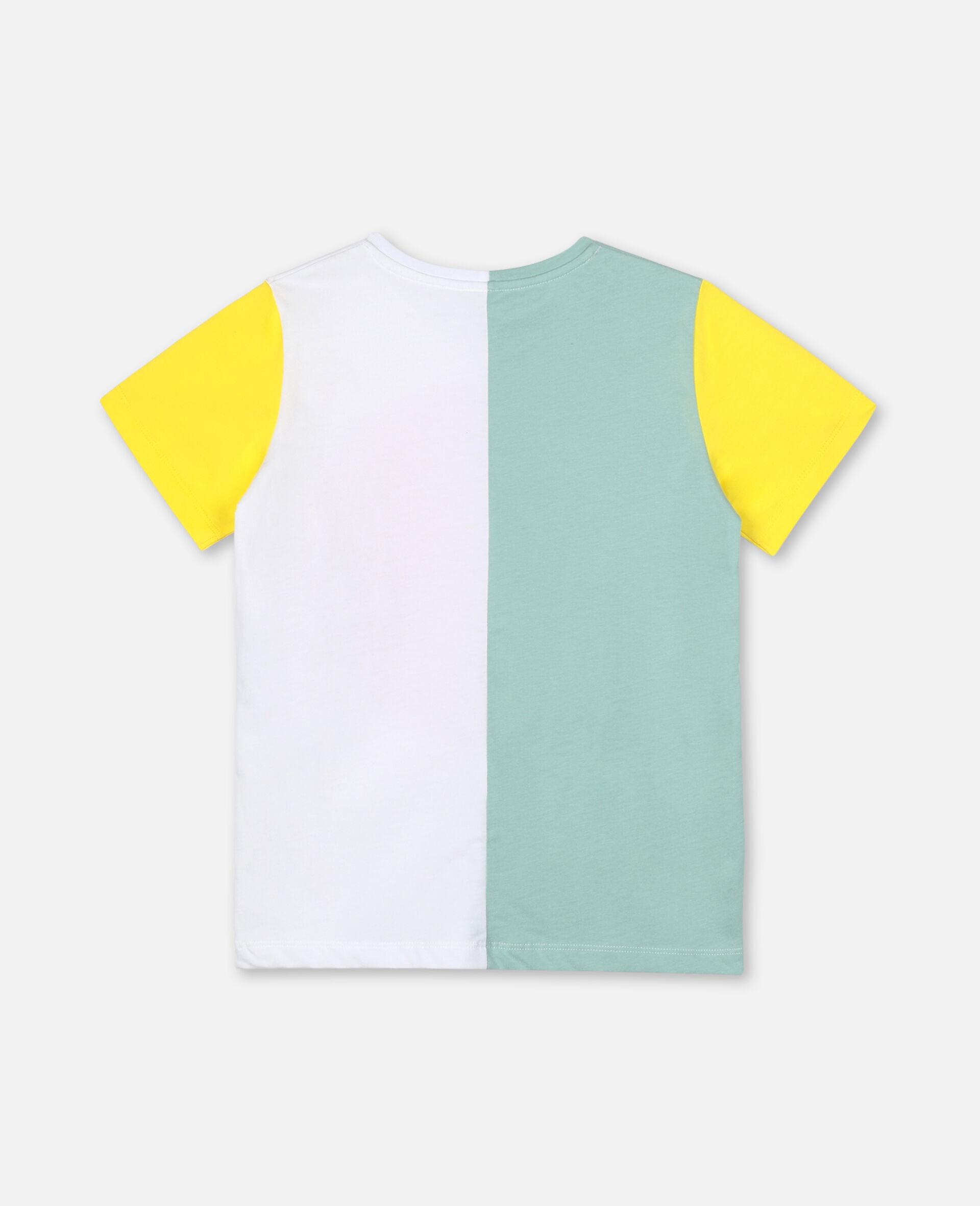 Baumwoll-T-Shirt mit Colourblock-Design und Logo-Grün-large image number 3