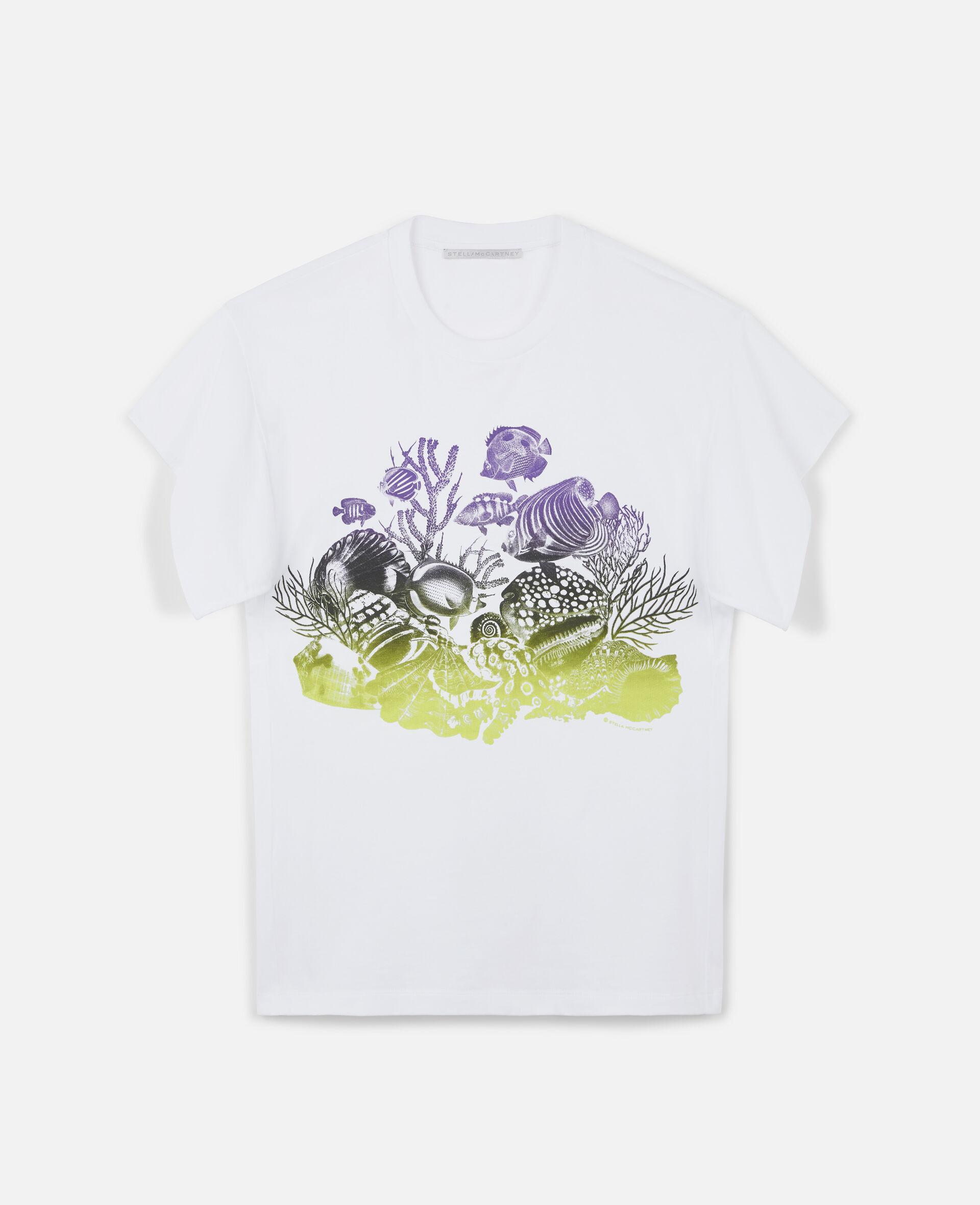 T-shirt en coton à imprimé vie marine-Blanc-large image number 0
