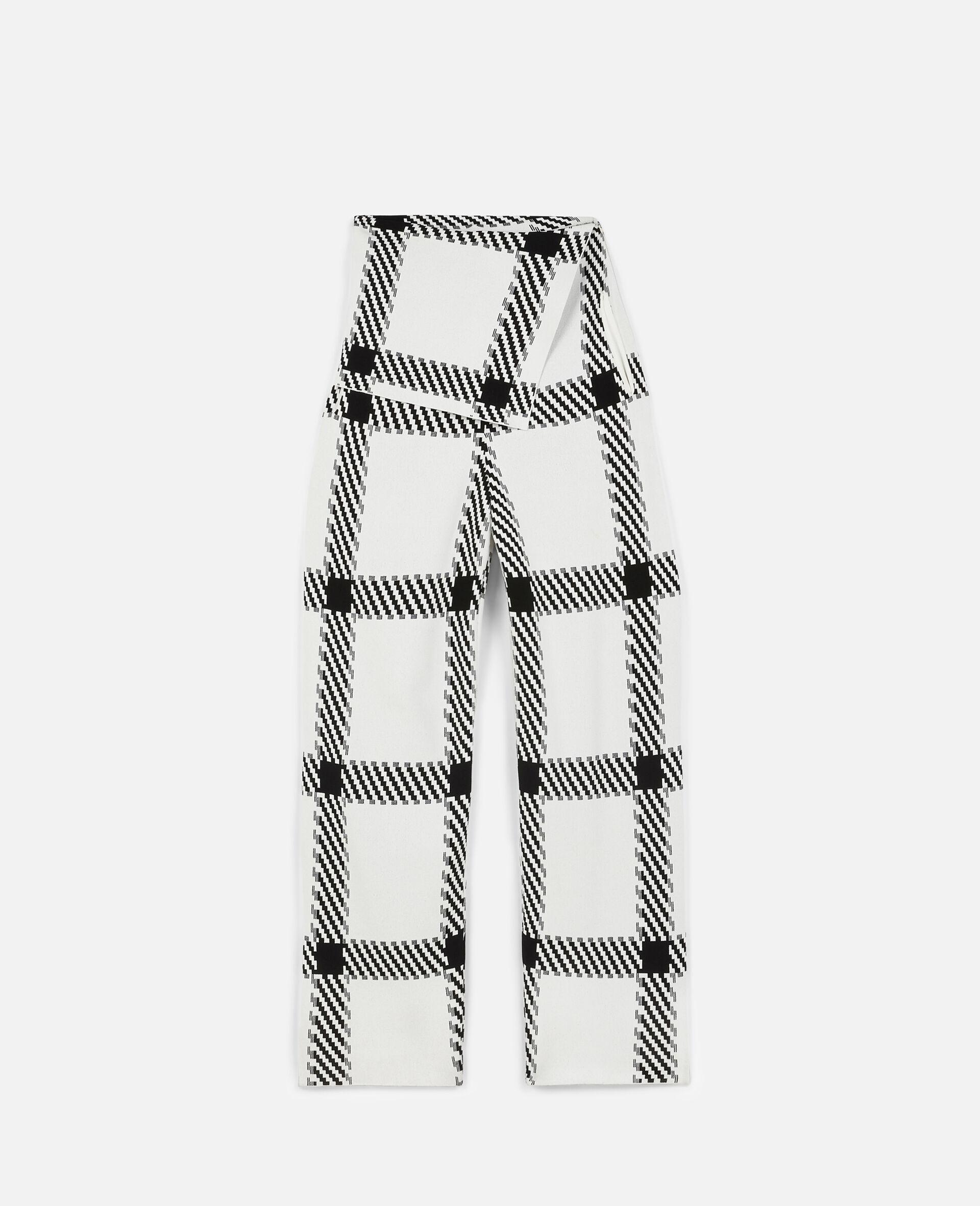 针织格纹裤装-白色-large image number 0