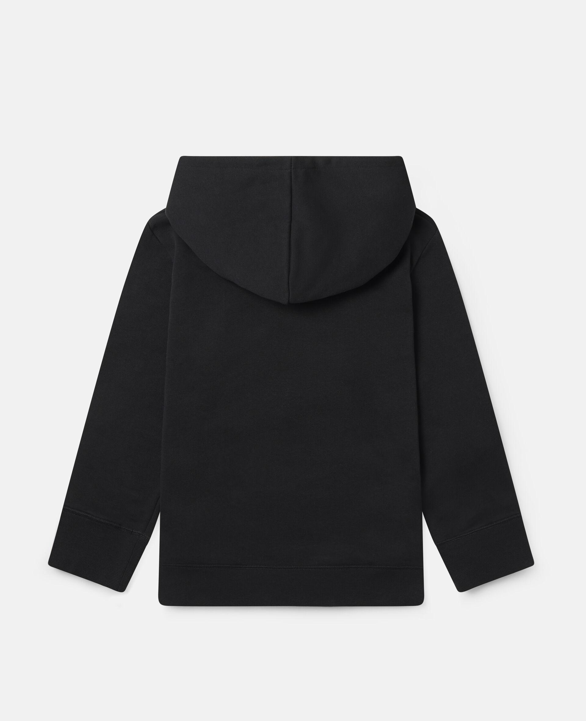 Oversized Graphic Mountain Fleece Hoodie-Black-large image number 3