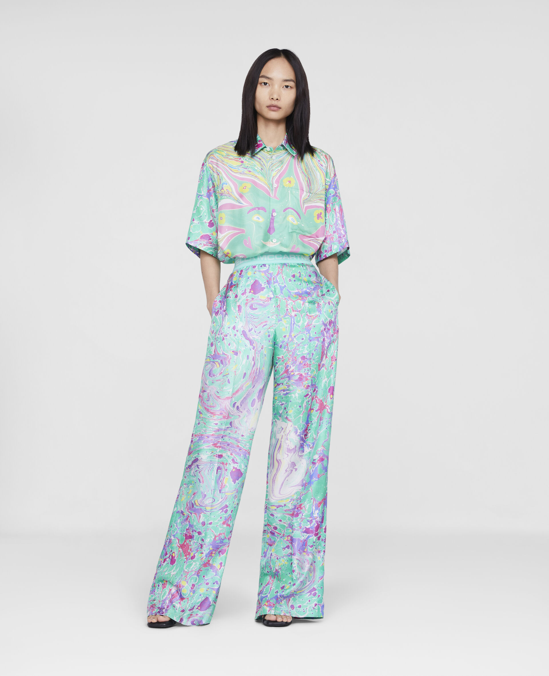 Myfawnwy Printed Silk Trousers-Multicolour-large image number 1