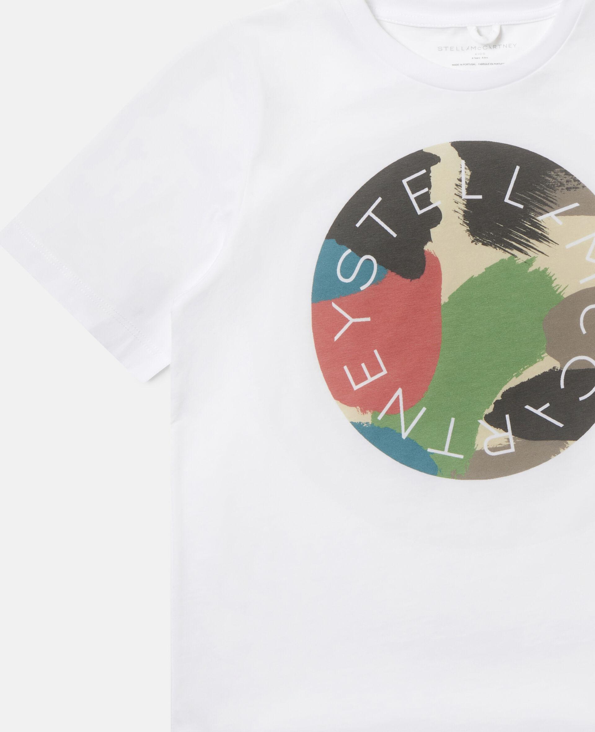 T-shirt en coton à logo camouflage -Blanc-large image number 2