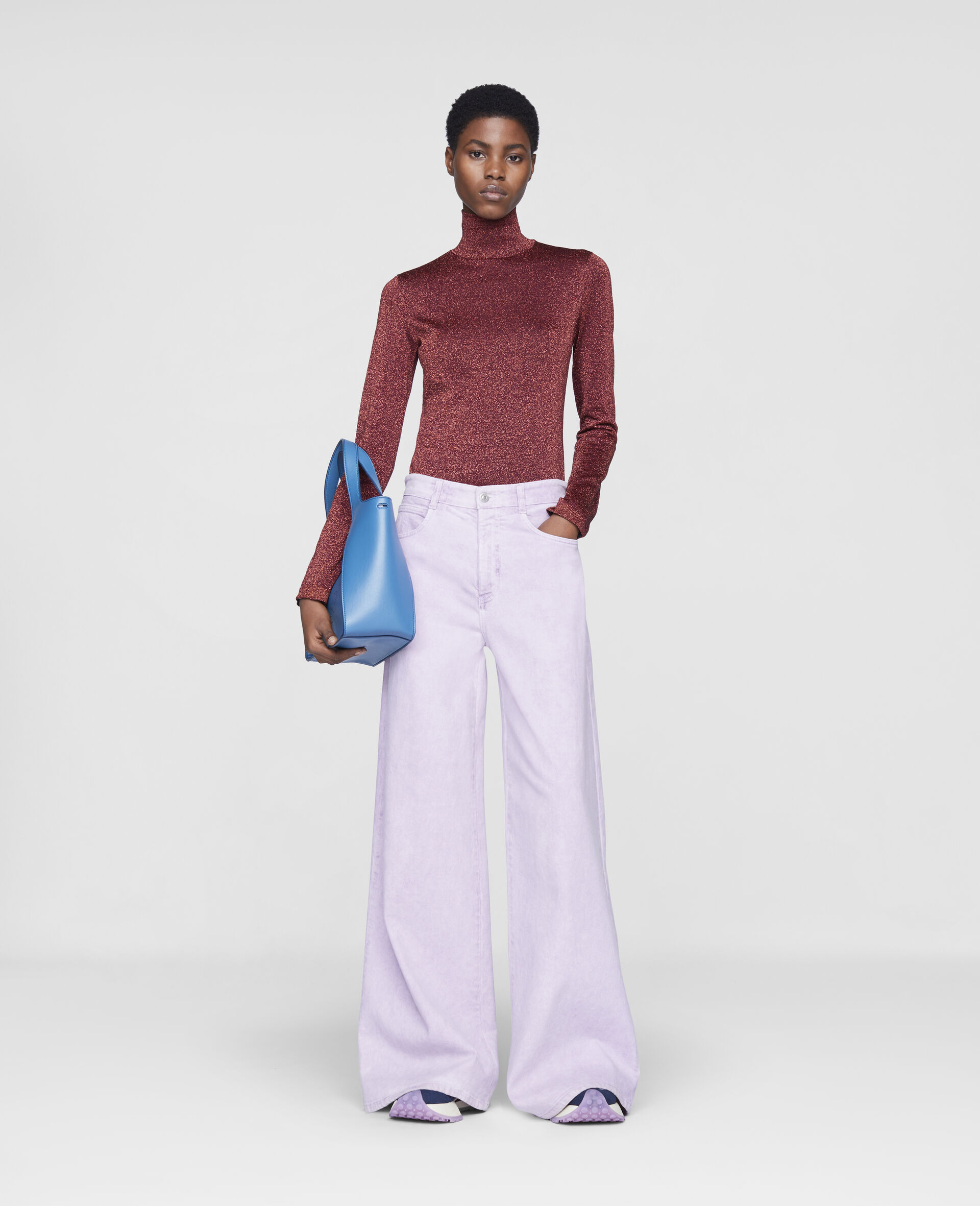 Flared Denim Trousers-Purple-large image number 1
