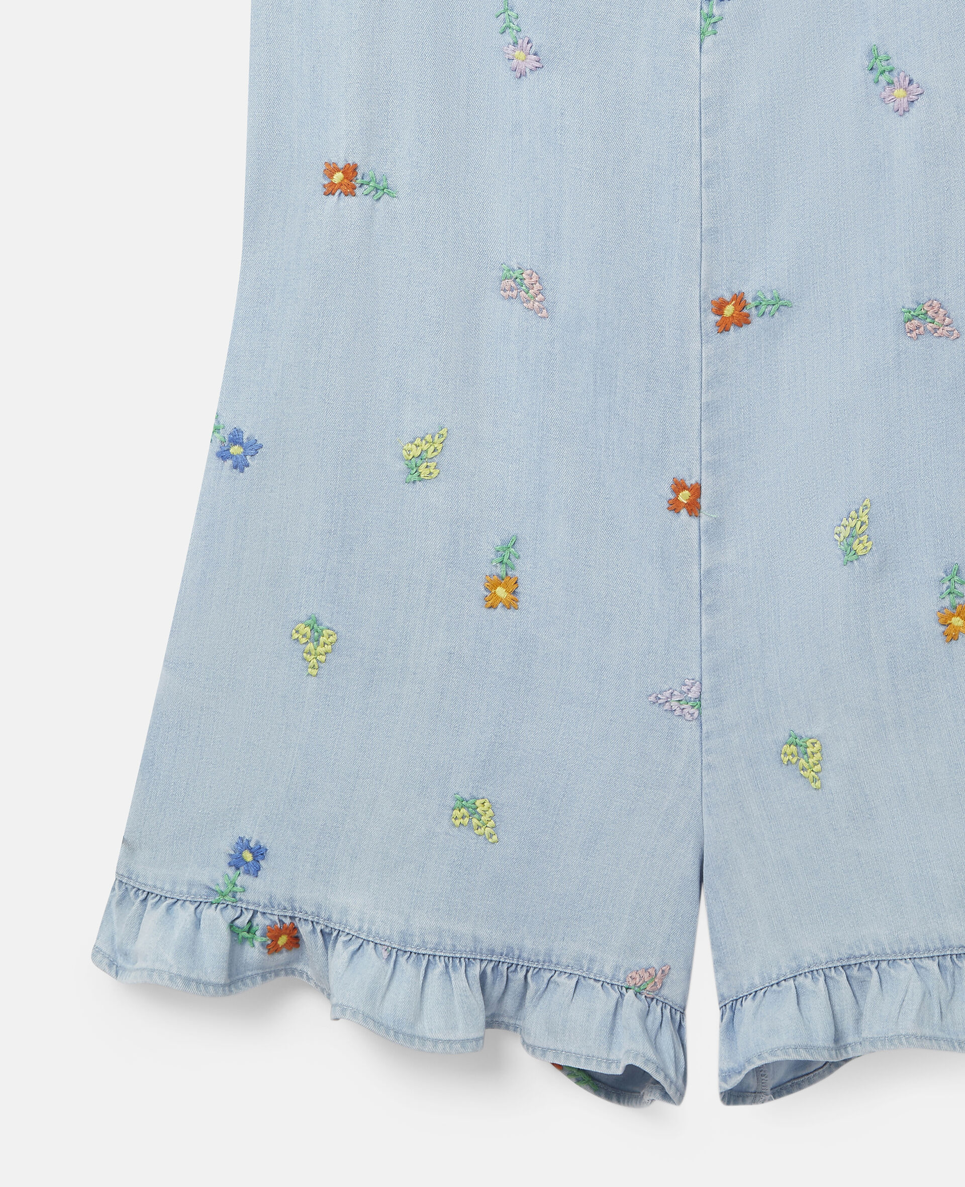 Embroidered Flowers Denim All-In-One-Blue-large image number 2