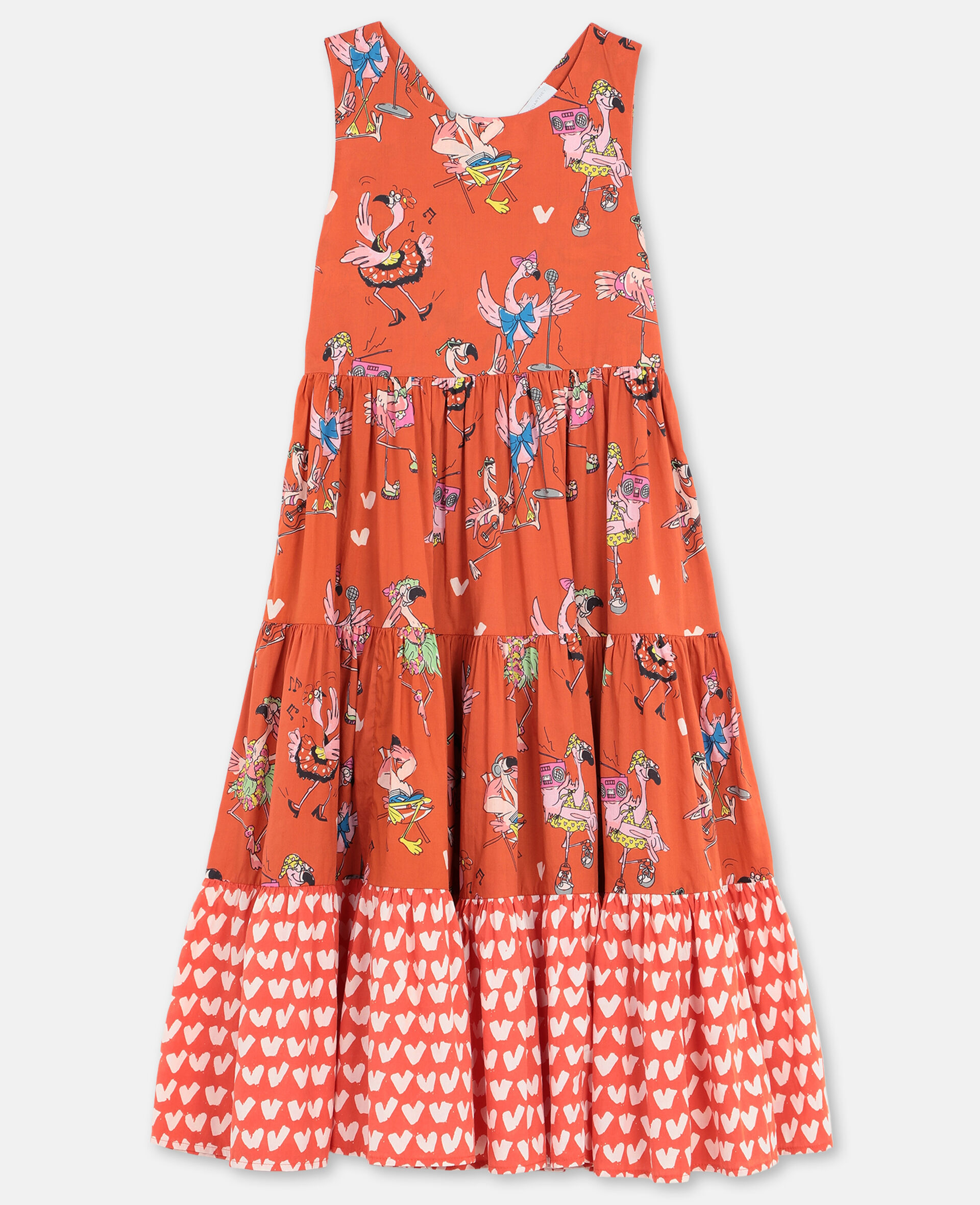 Flamingo Party Cotton Dress-Red-large image number 0