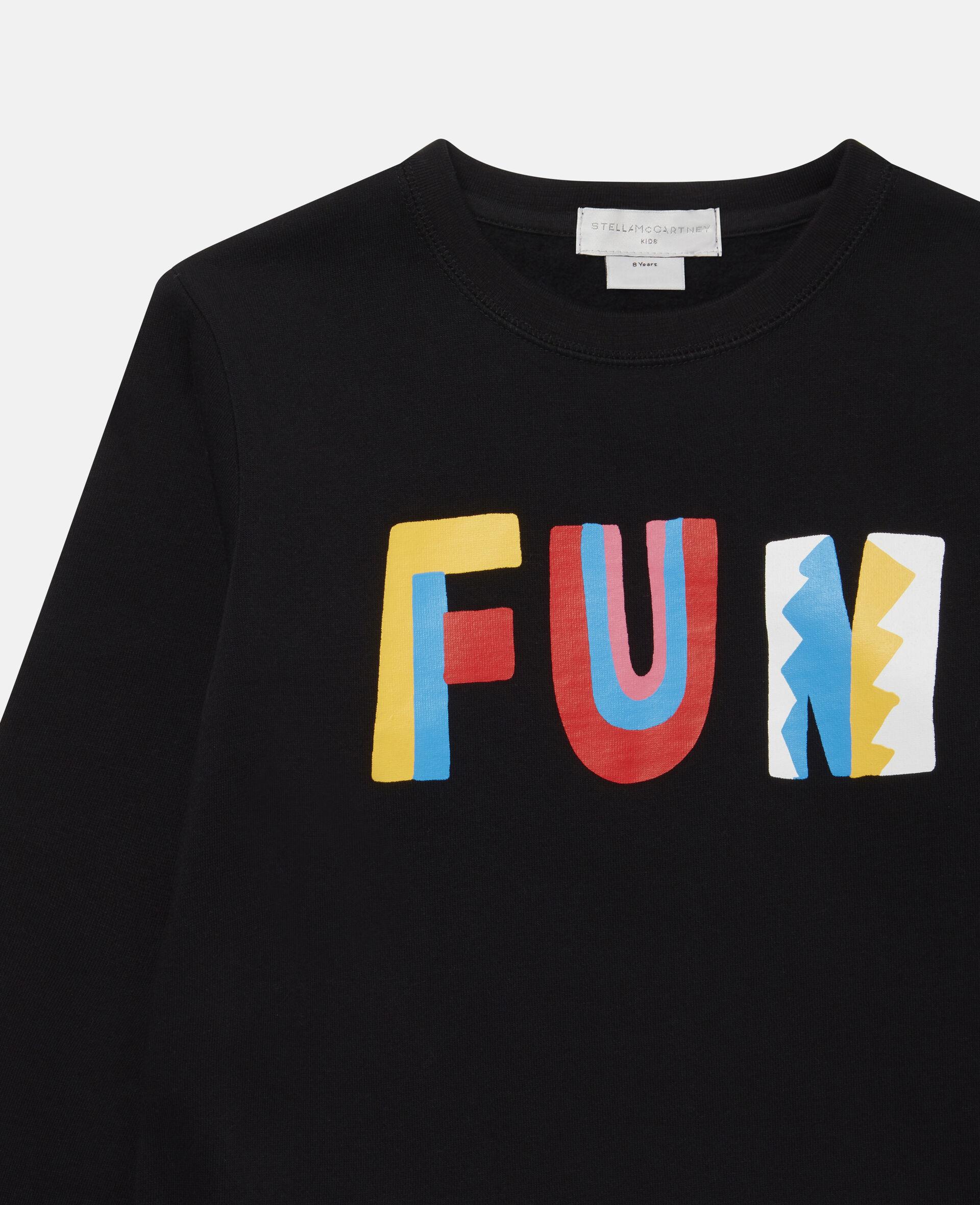 Fun Oversize Cotton Fleece Sweatshirt -Black-large image number 1