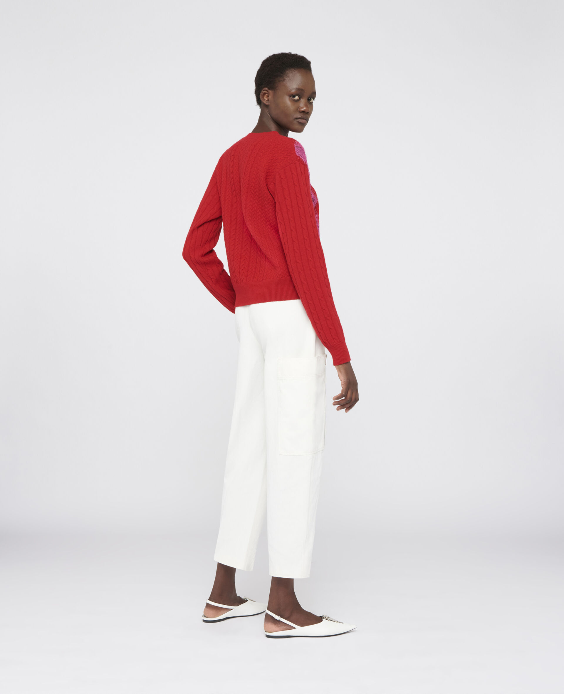 Cropped Wool Jumper -Red-large image number 2