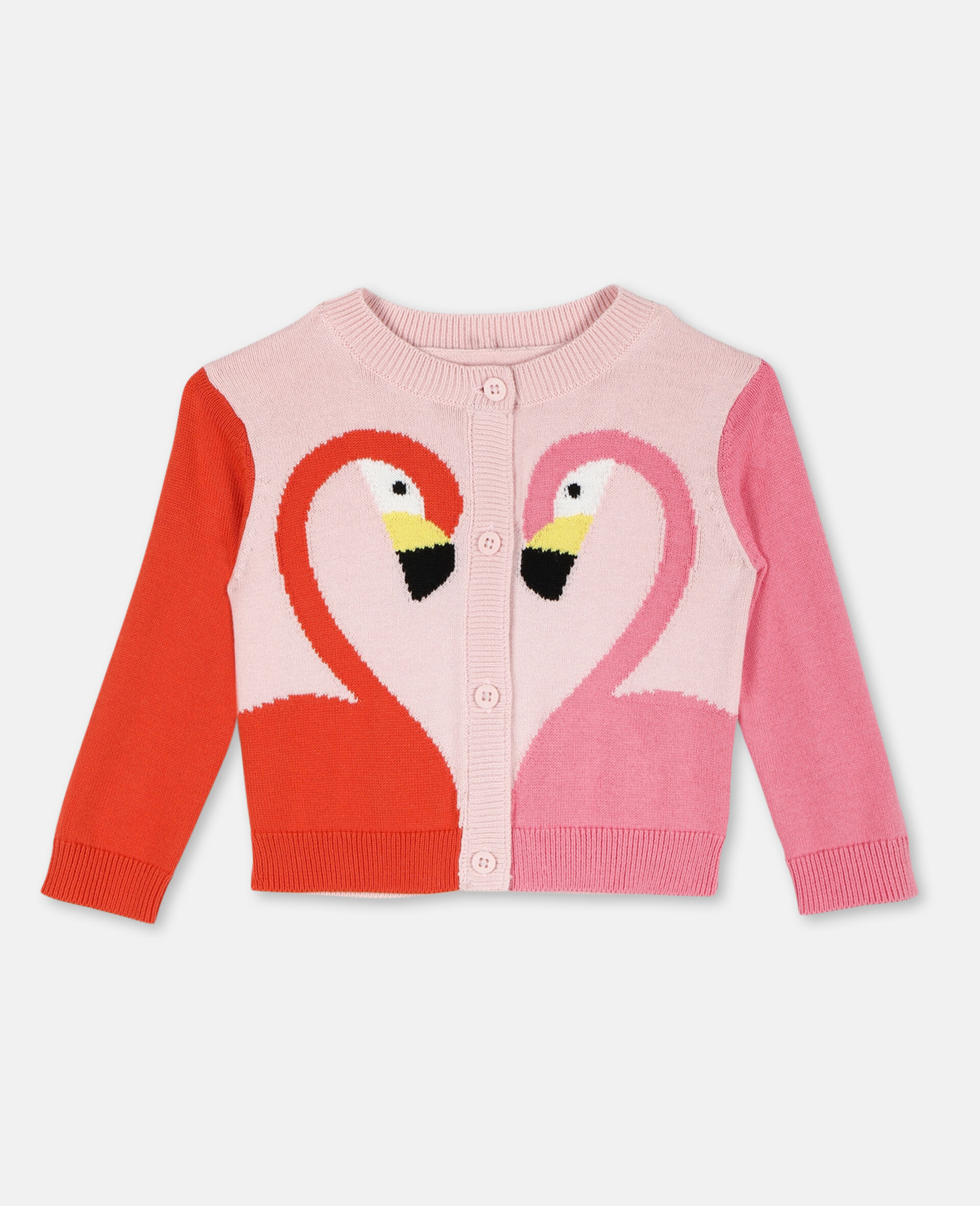 Flamingo Intarsia Knit Cotton Cardigan -Pink-large image number 0