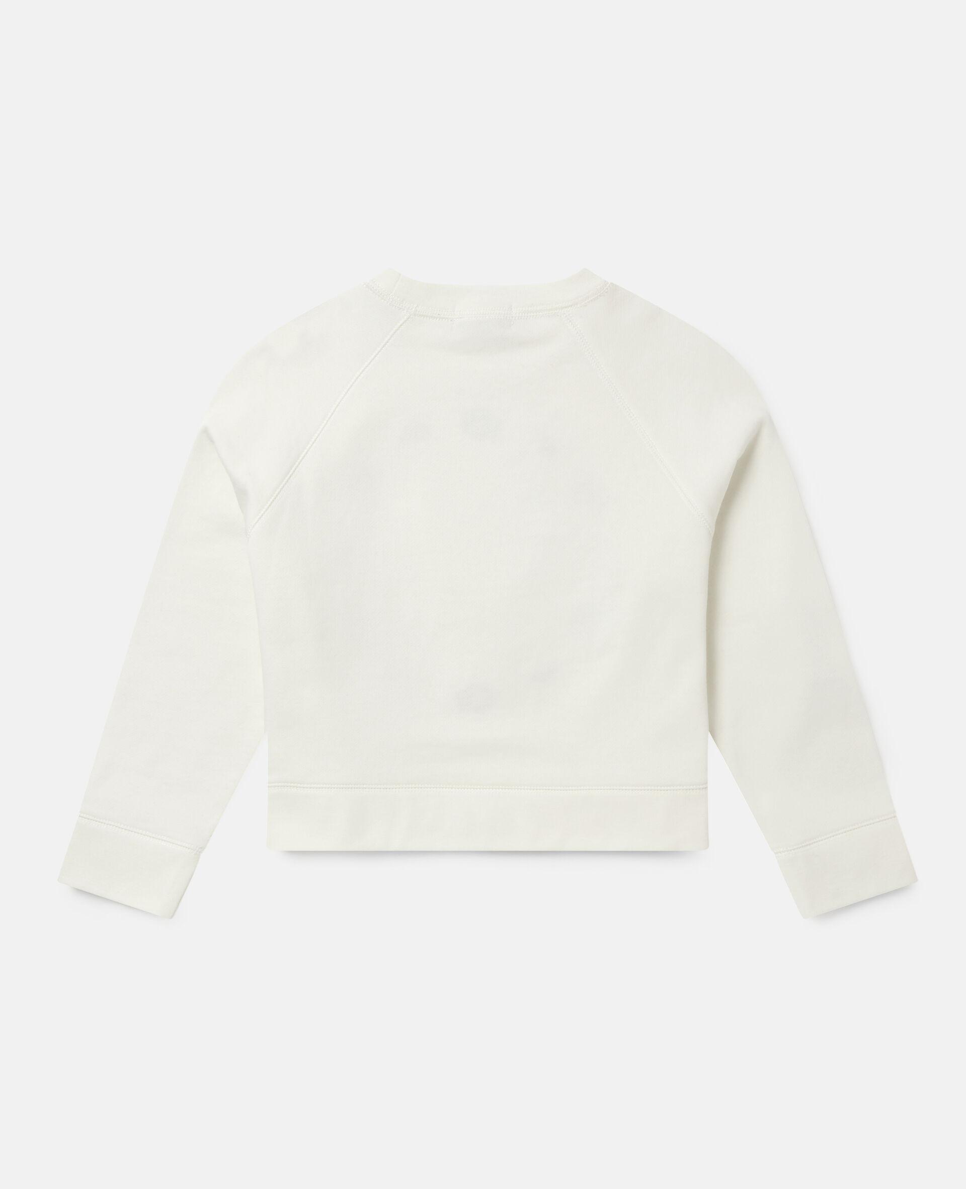 Oversized Logo Cotton Fleece Sweatshirt-White-large image number 3