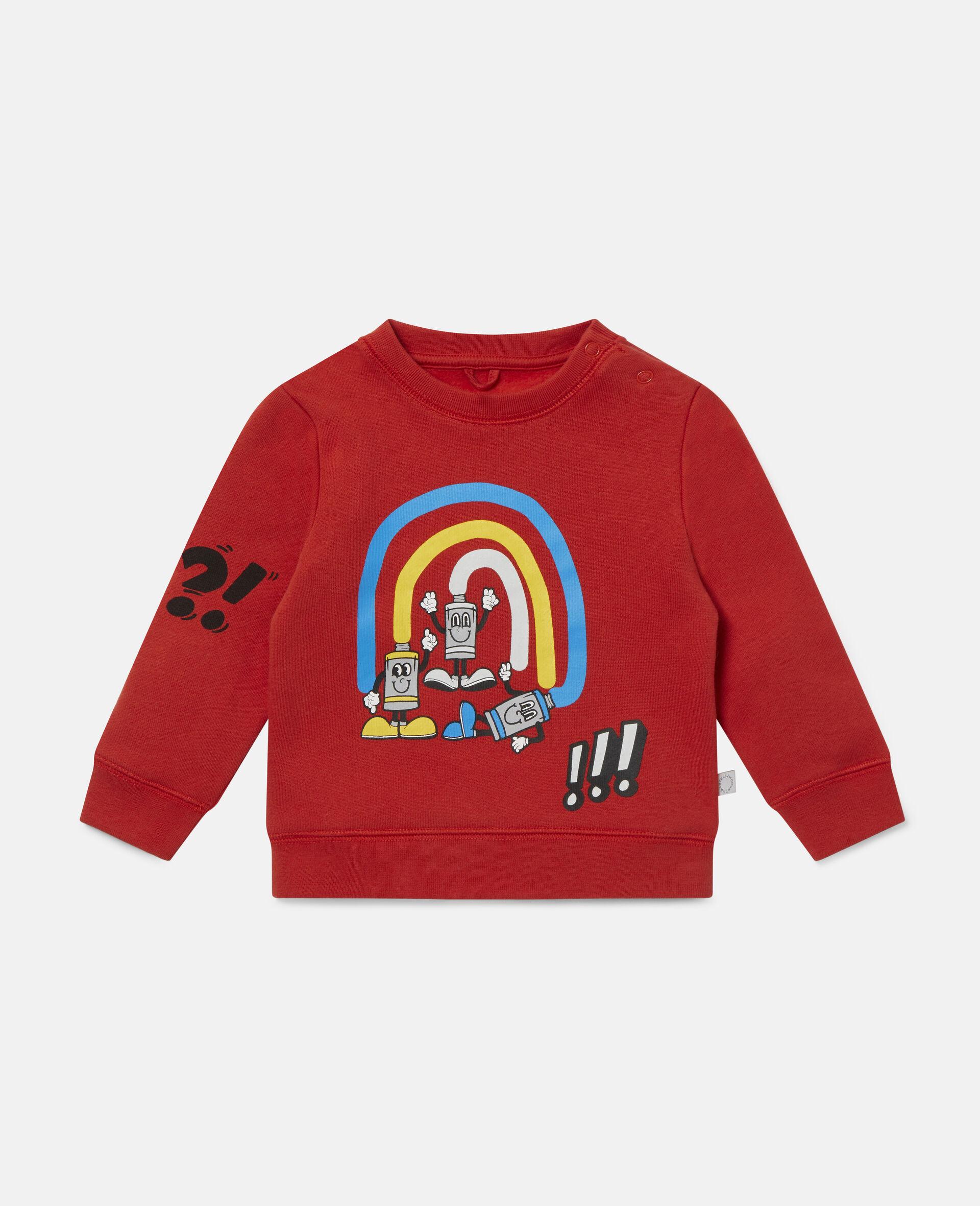 Rainbow Painting Tubes Fleece Sweatshirt-Red-large image number 0