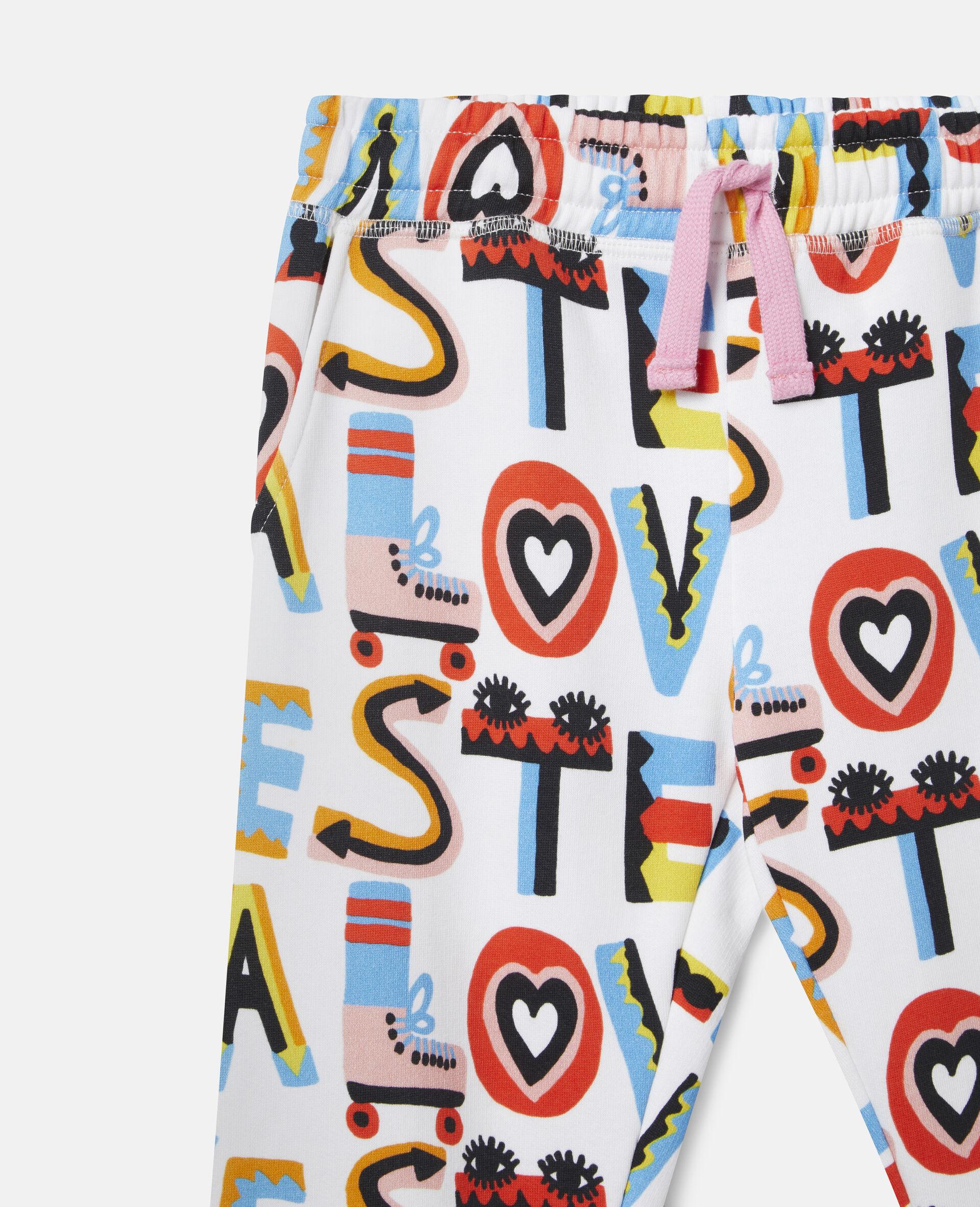 Pantalon de jogging en polaire de coton Stella Loves-Blanc-large image number 1