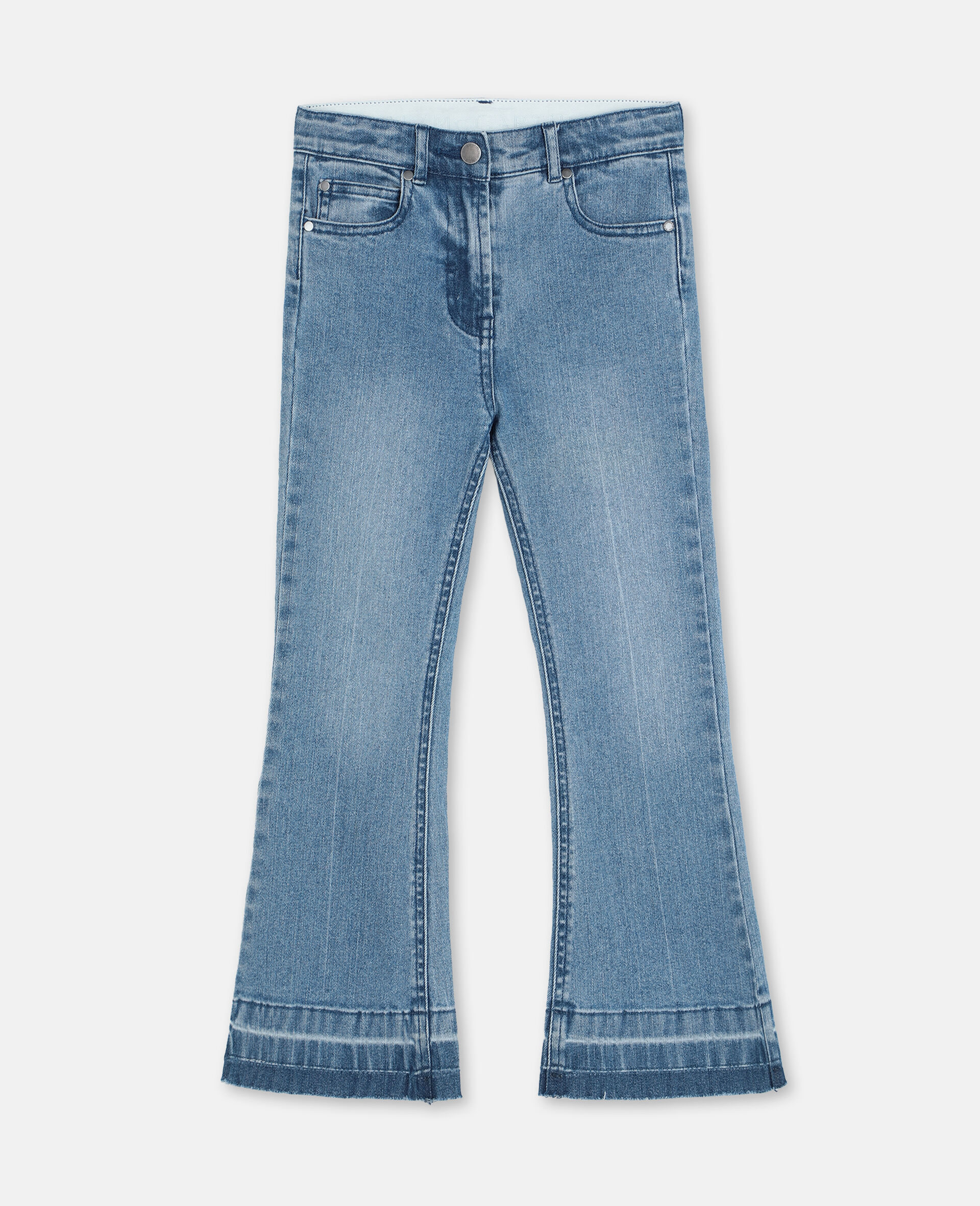 Butterfly Patch Flared Denim Trousers-Blue-large image number 0