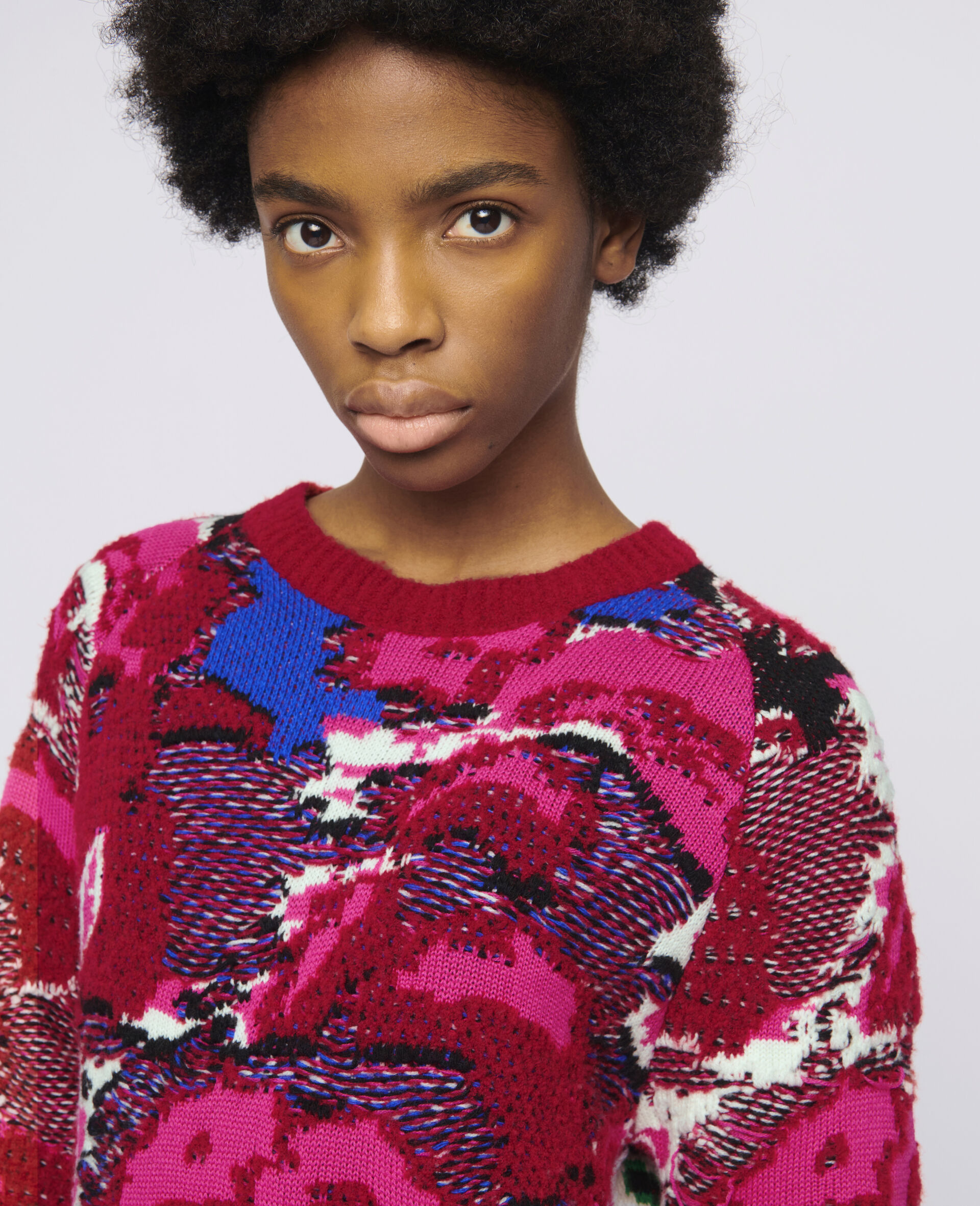 Floral Jacquard Sweater-Multicoloured-large image number 3