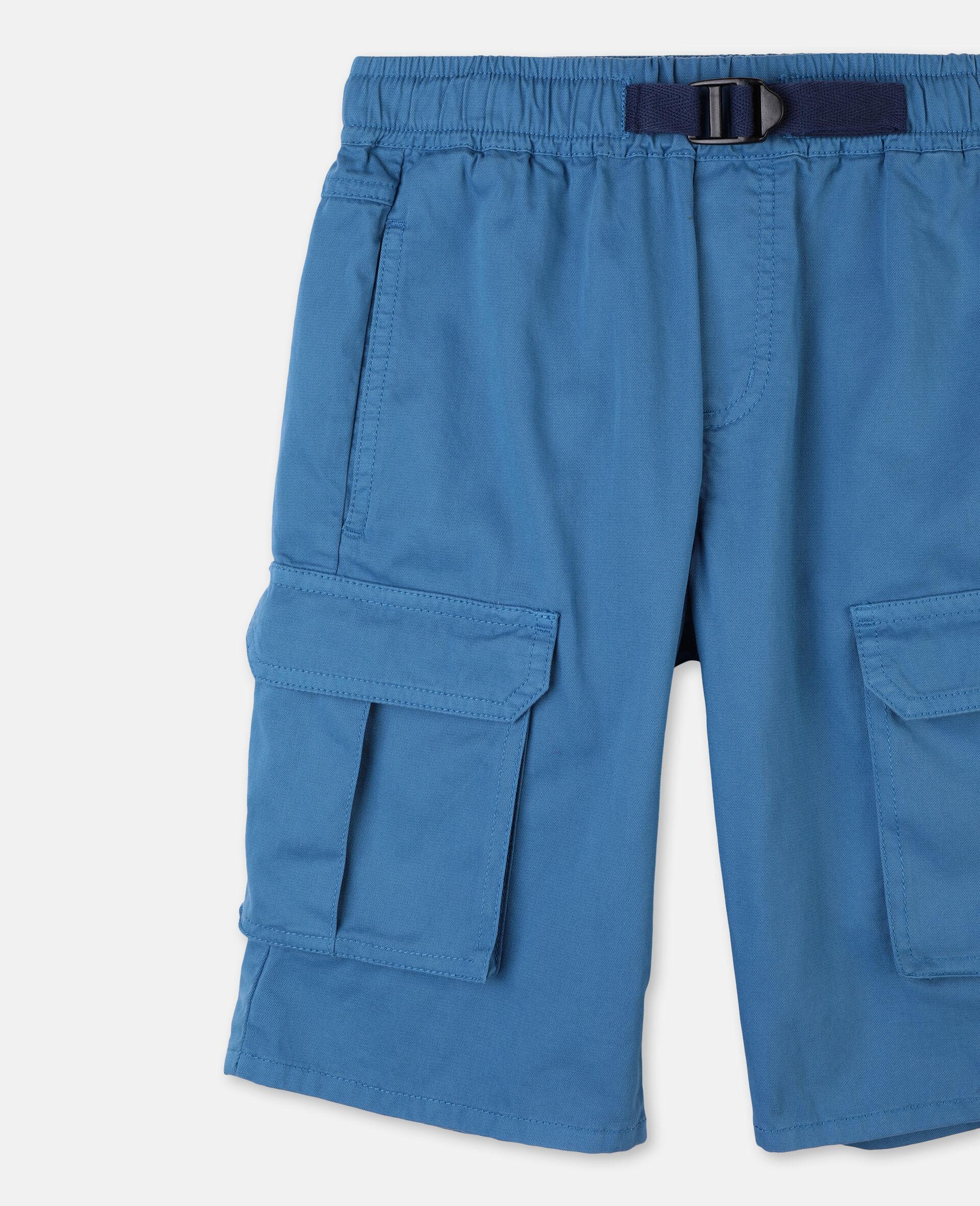 Cargo Cotton Twill Shorts -Blue-large image number 1