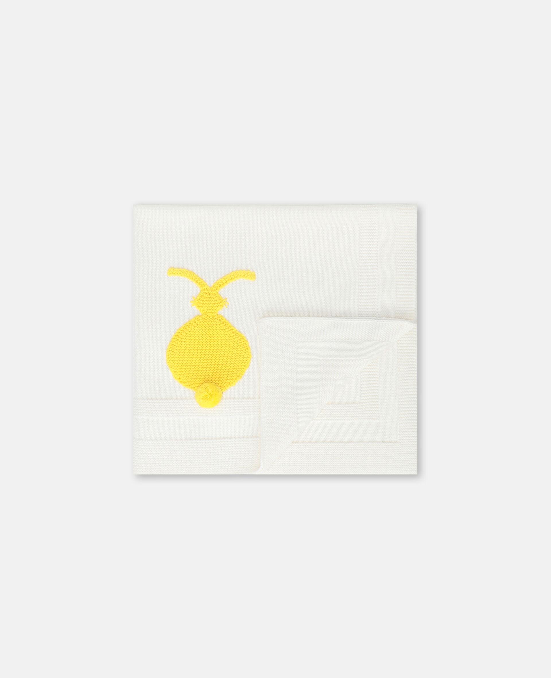Bunny Knit Blanket -White-large image number 1
