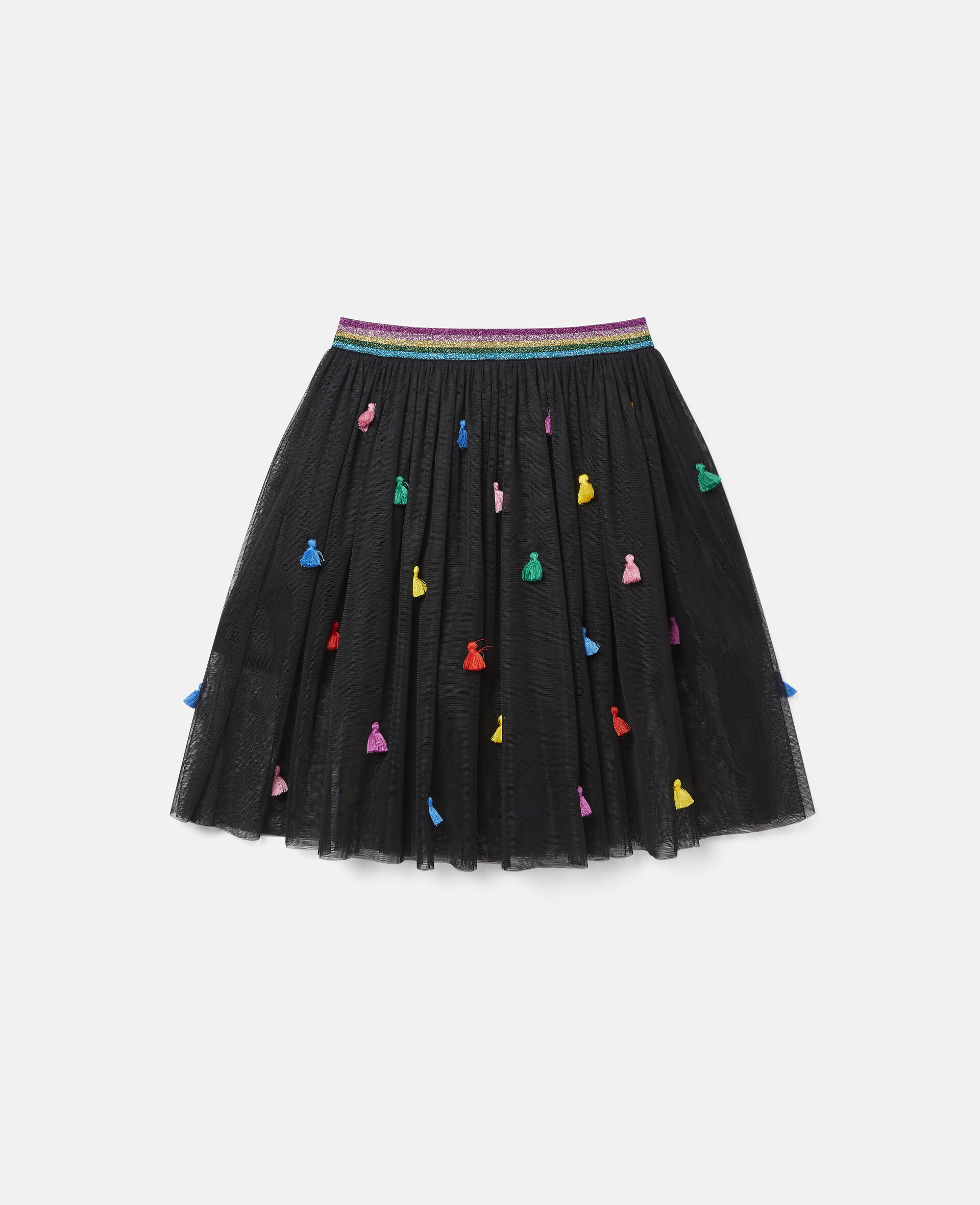Tassels Tulle Skirt -Black-large image number 0