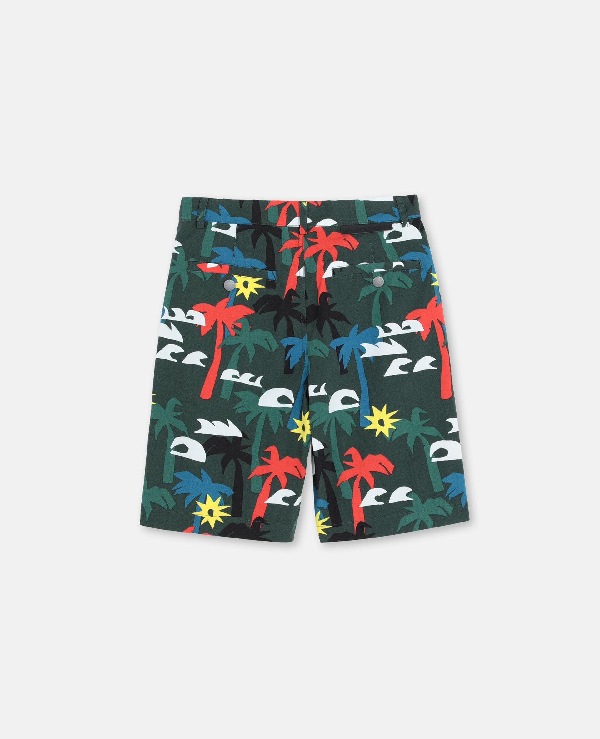Multicolour Palm Trees Cotton Shorts -Multicolour-large image number 3