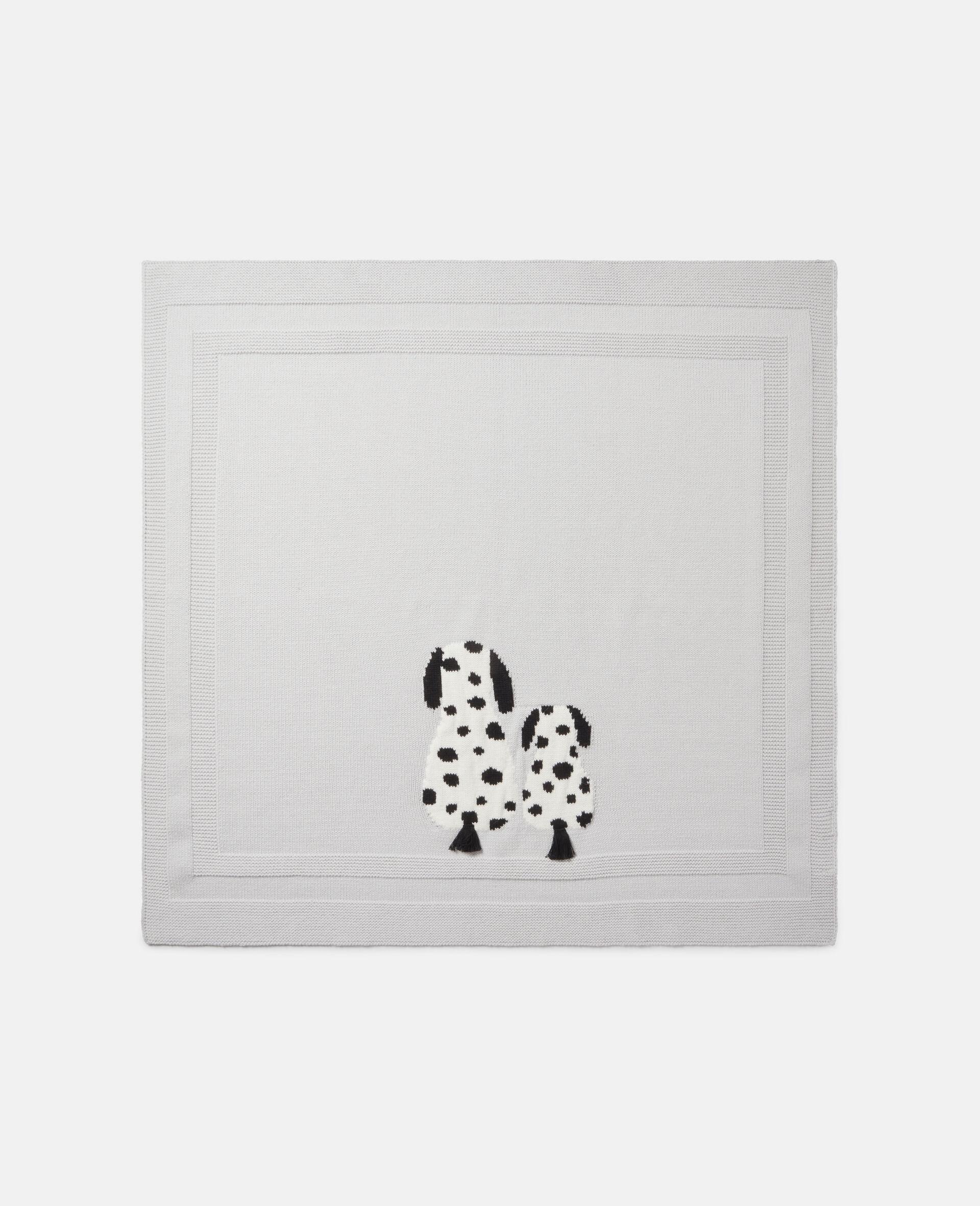 Strickdecke mit Dalmatiner-Intarsien-Grau-large image number 2