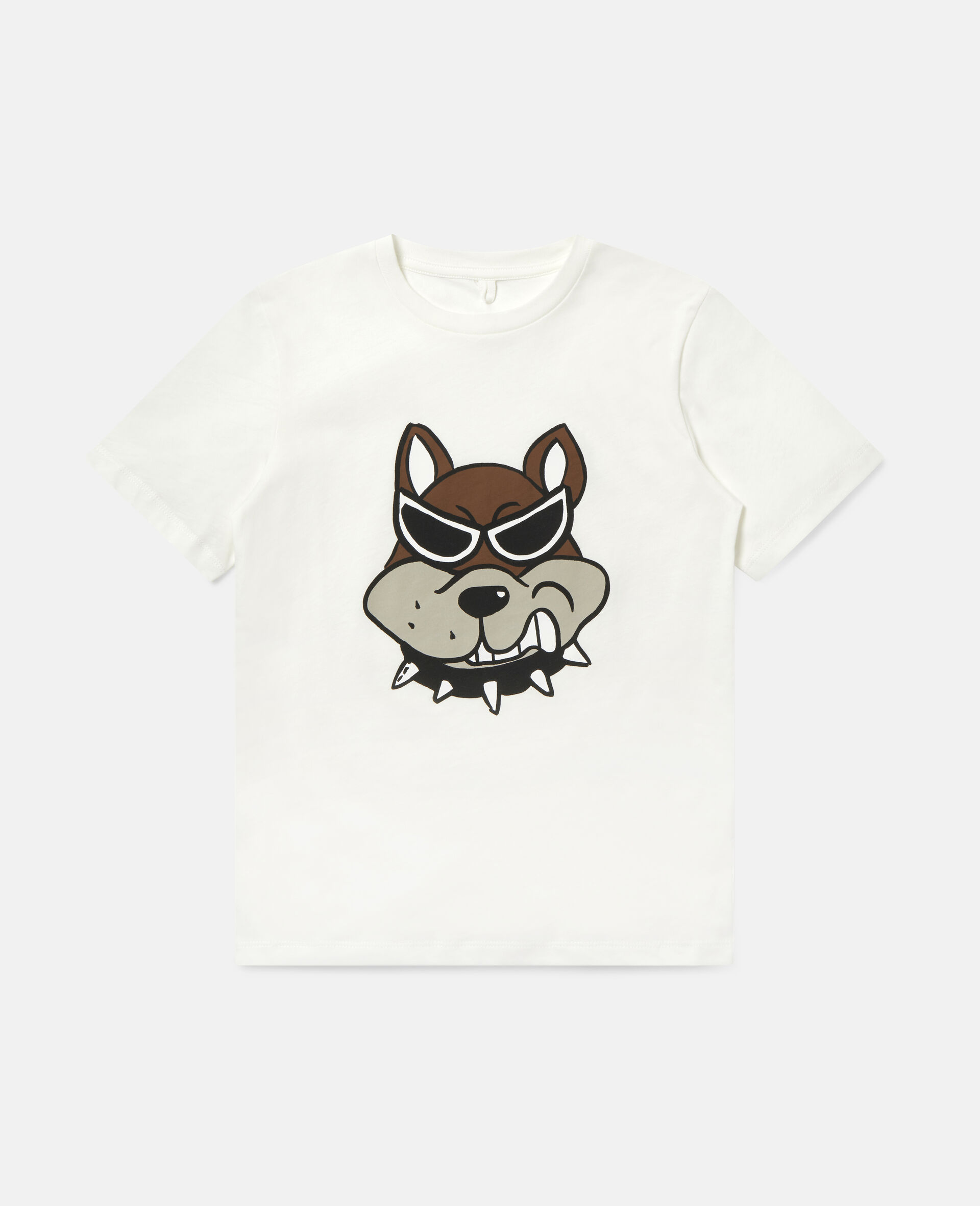 T-shirt en coton imprimé bulldog-Blanc-large image number 0