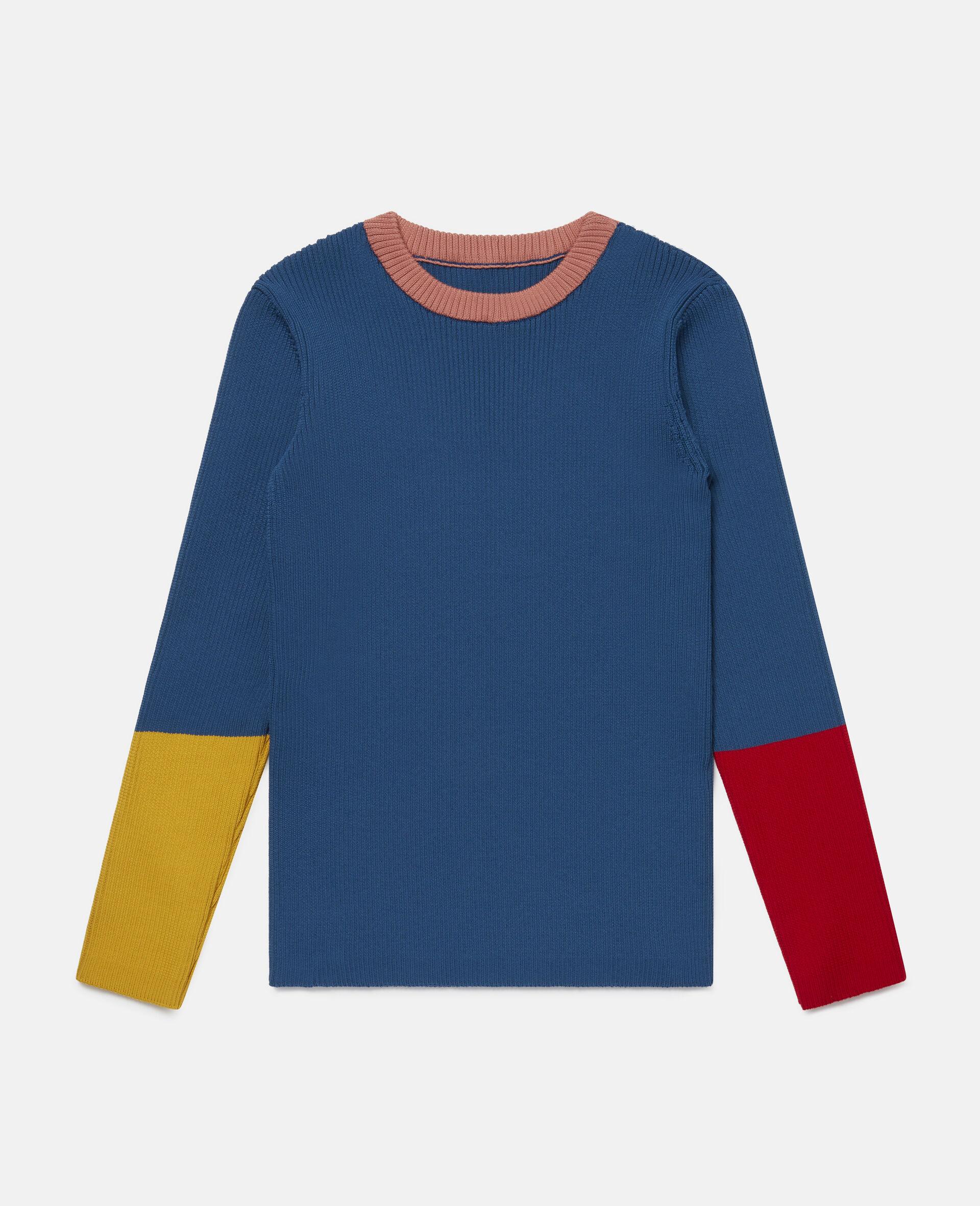 Colourblock Knit Rib Jumper -Blue-large image number 0