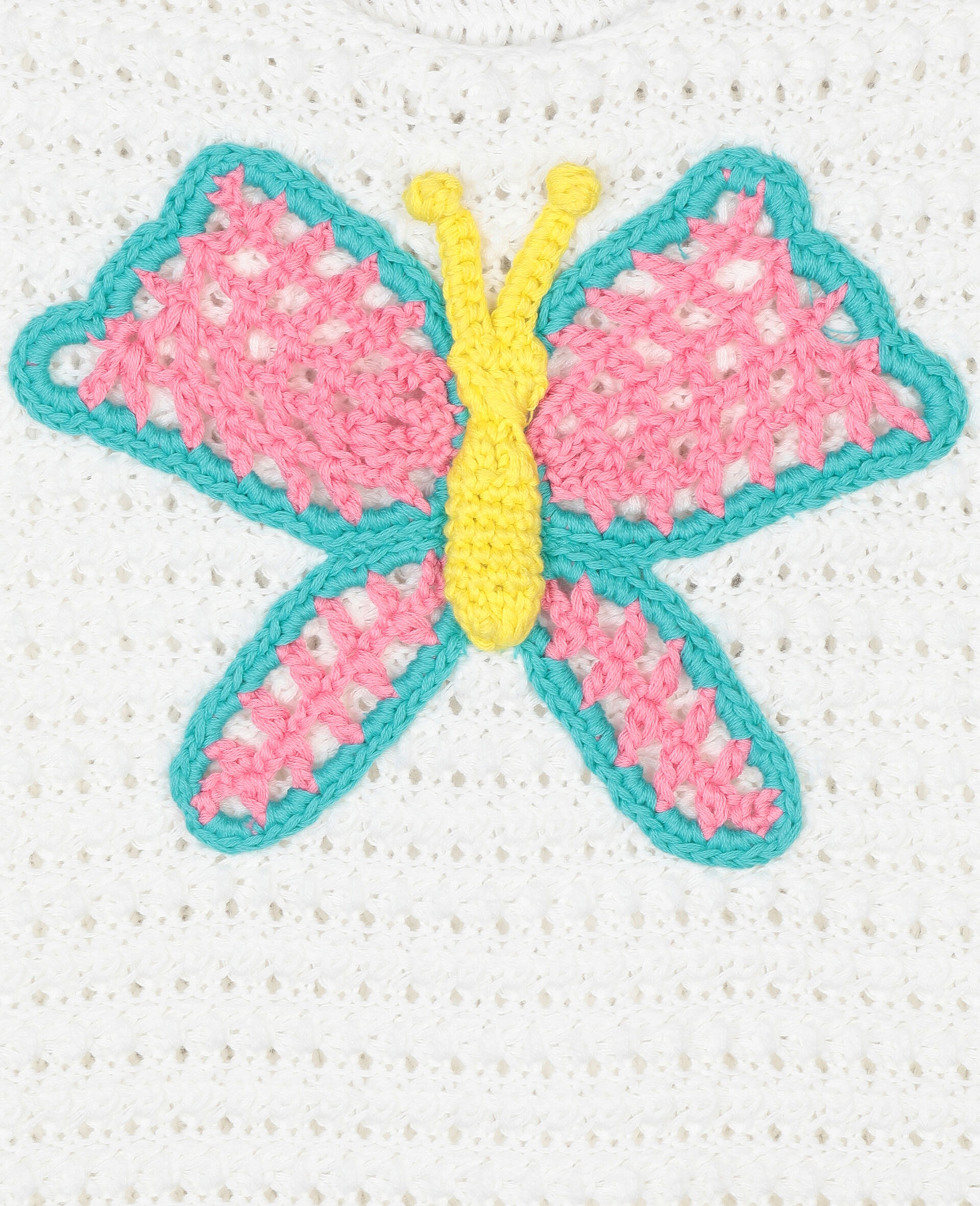 Butterfly Crochet Cotton Top-White-large image number 1