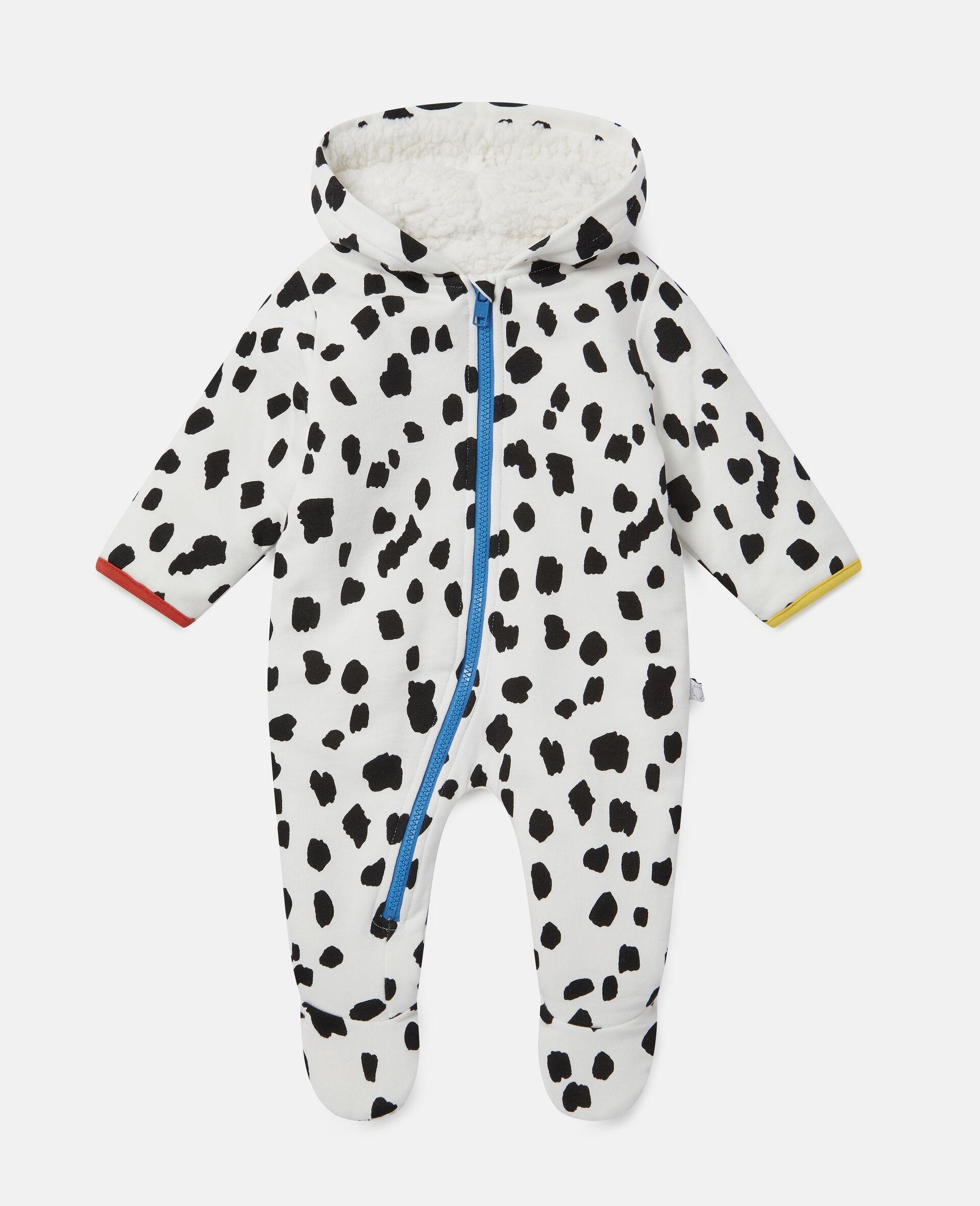 Dalmatian Spots Fleece Jumpsuit-White-large image number 0