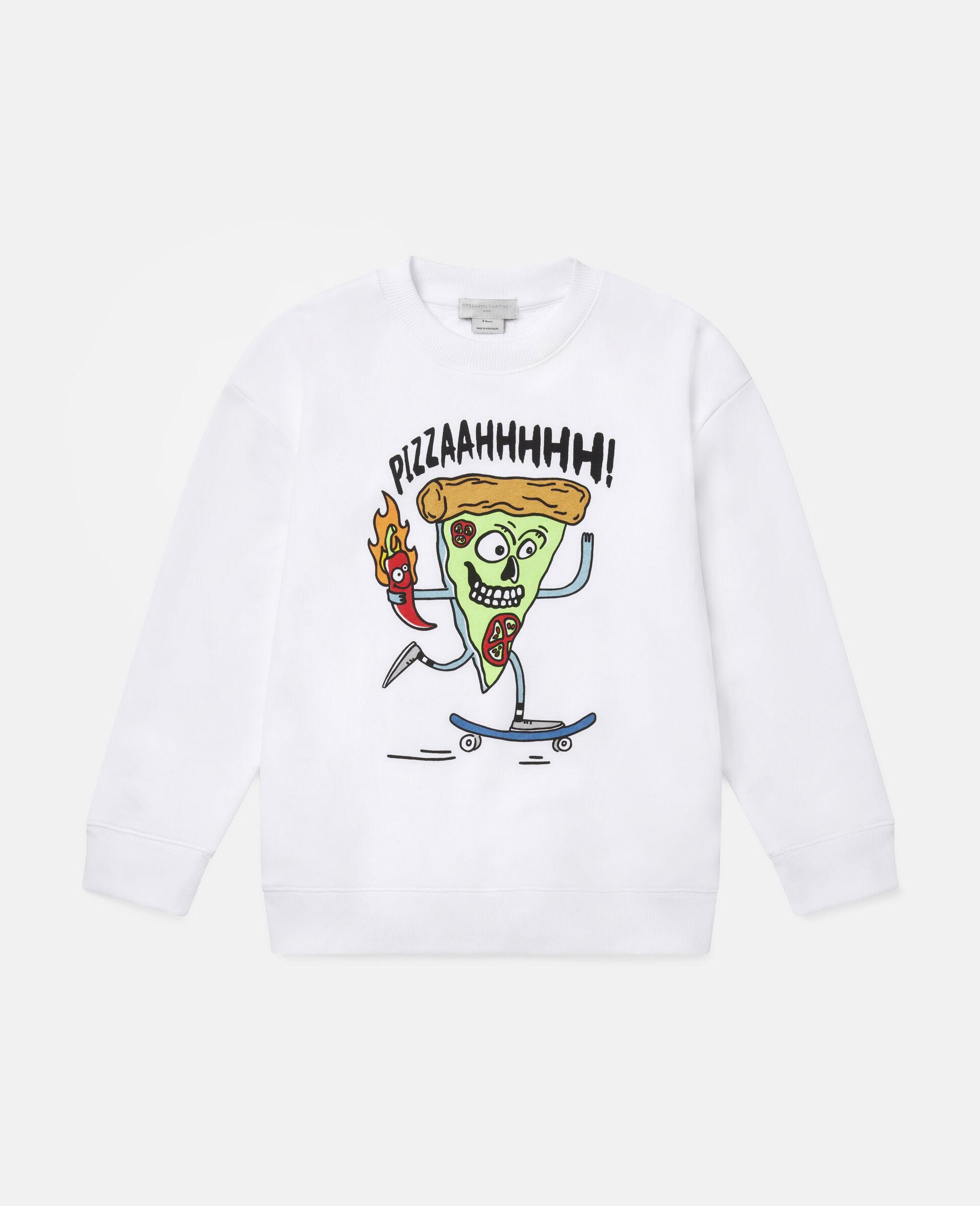 Fleece-Sweatshirt mit Pizza-Skater-Motiv-Weiß-large image number 0