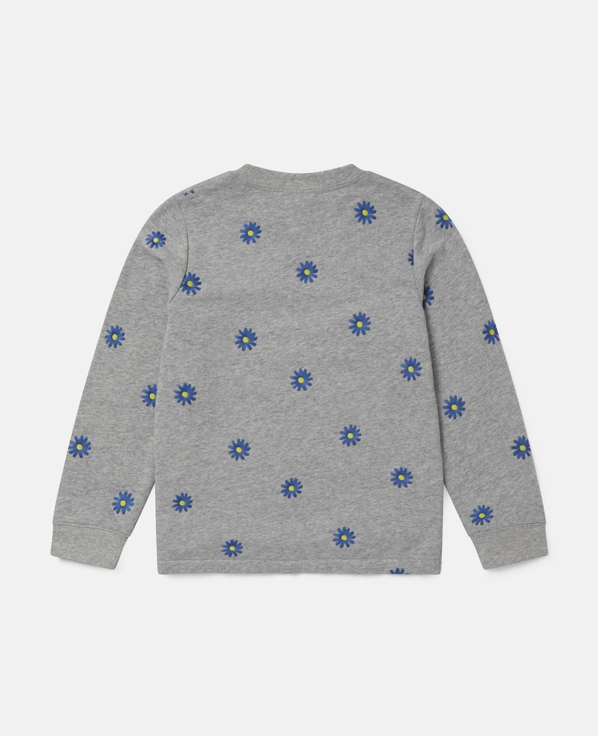 Sweat-shirt en polaire de coton à marguerites brodées -Gris-large image number 3