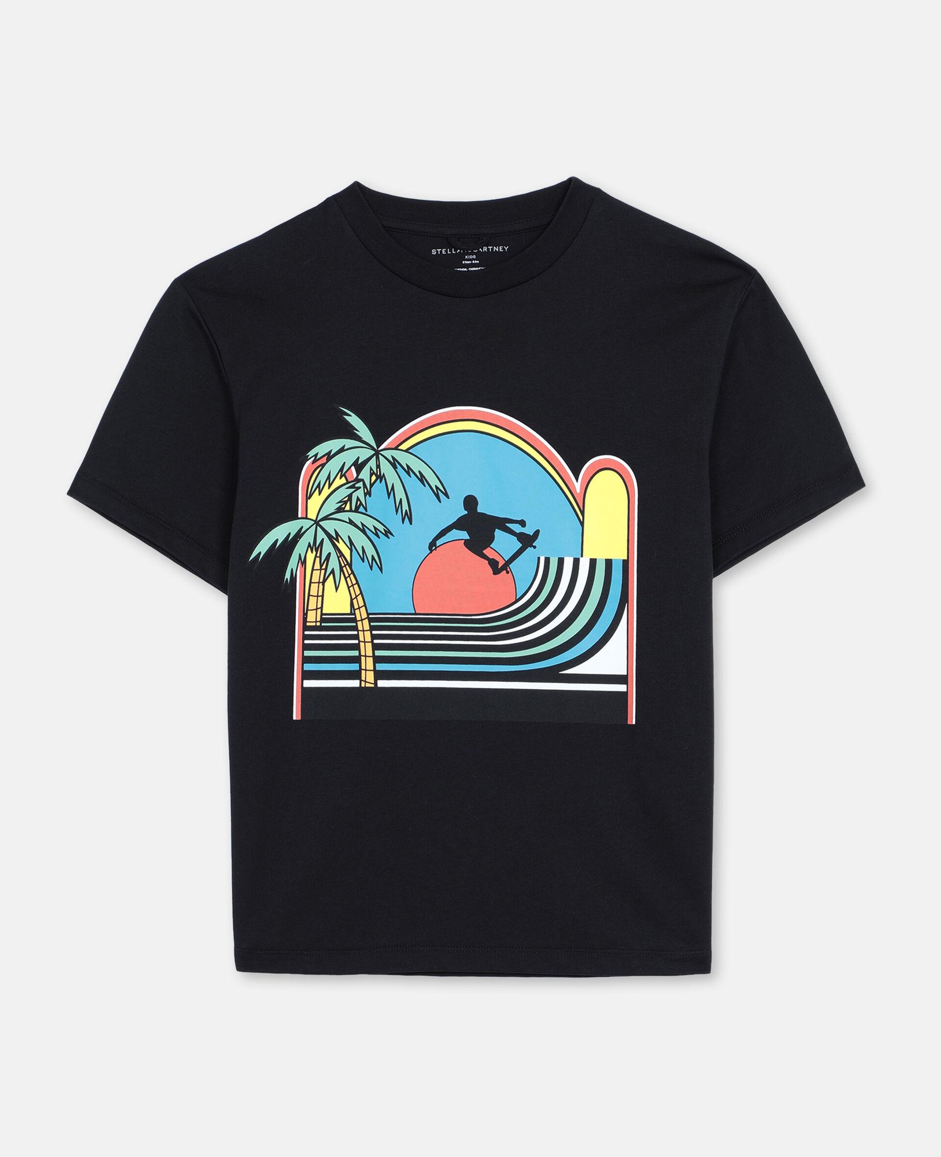T-shirt oversize en coton à motif skater -Noir-large image number 0