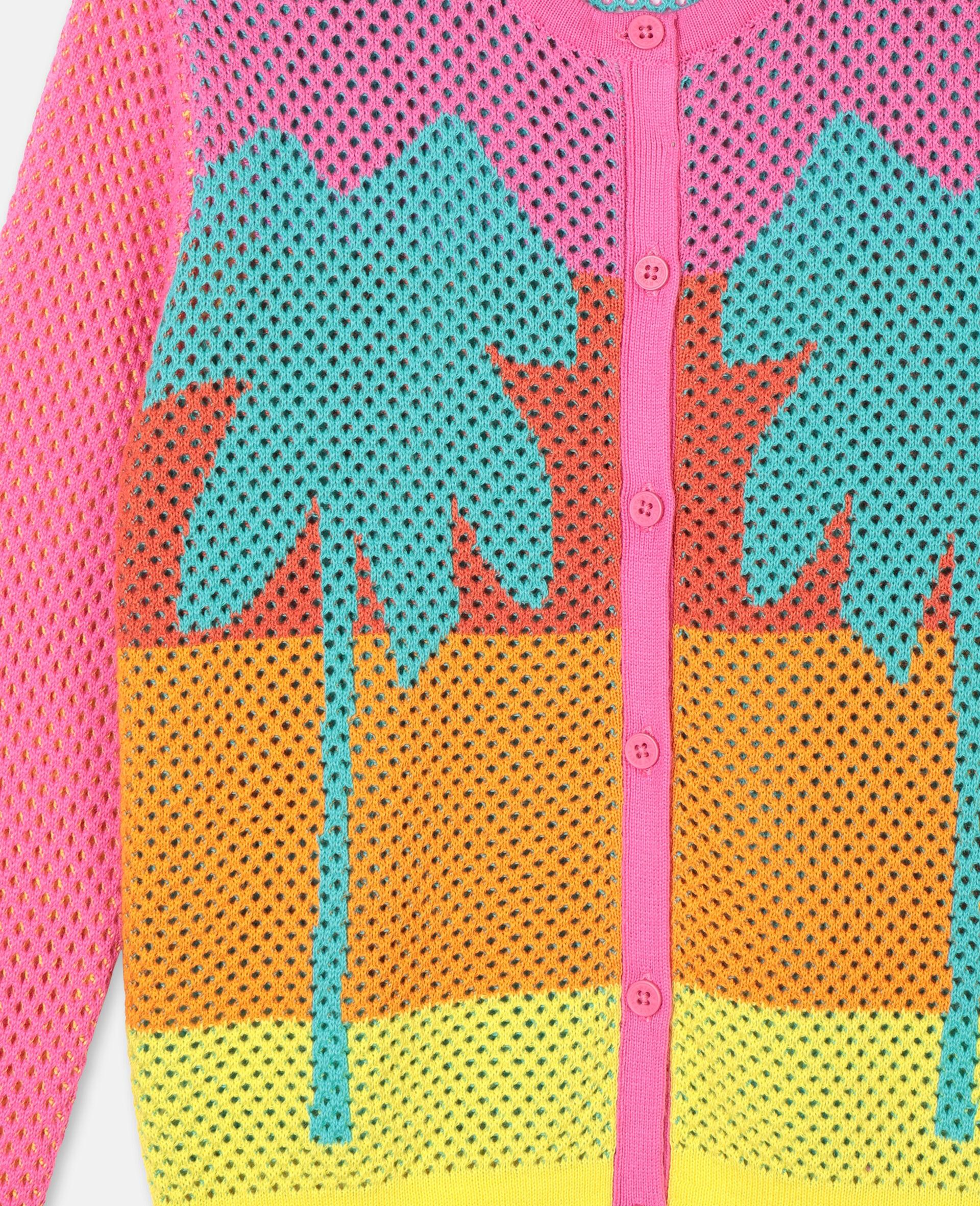 Intarsia Mesh Knit Cotton Cardigan-Multicolour-large image number 1