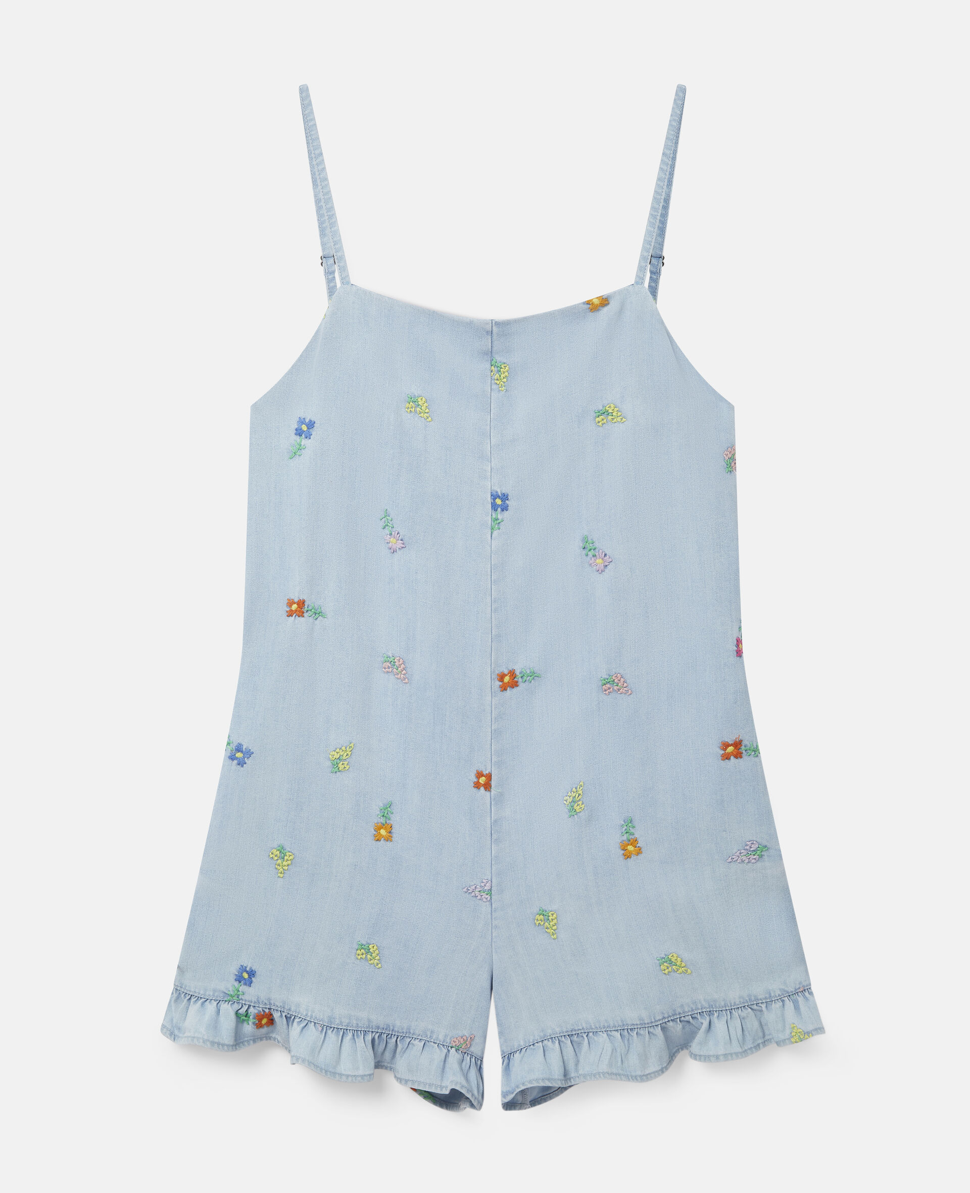 Embroidered Flowers Denim All-In-One-Blue-large image number 0