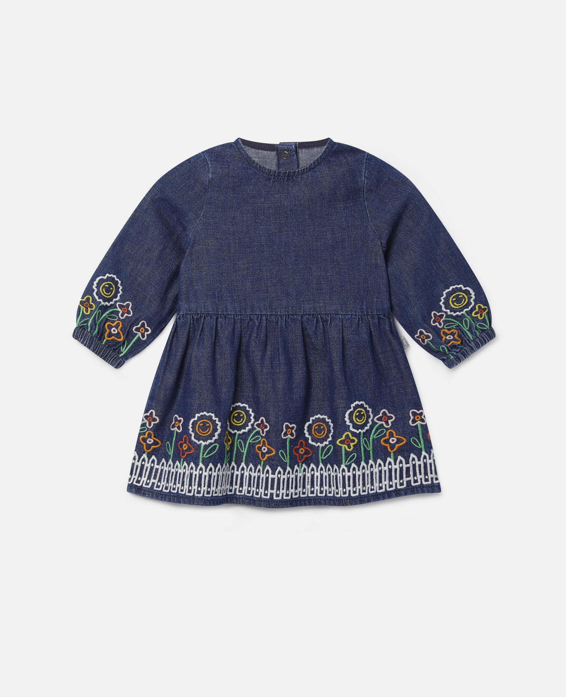 Embroidered Garden Denim Dress-Blue-large image number 0