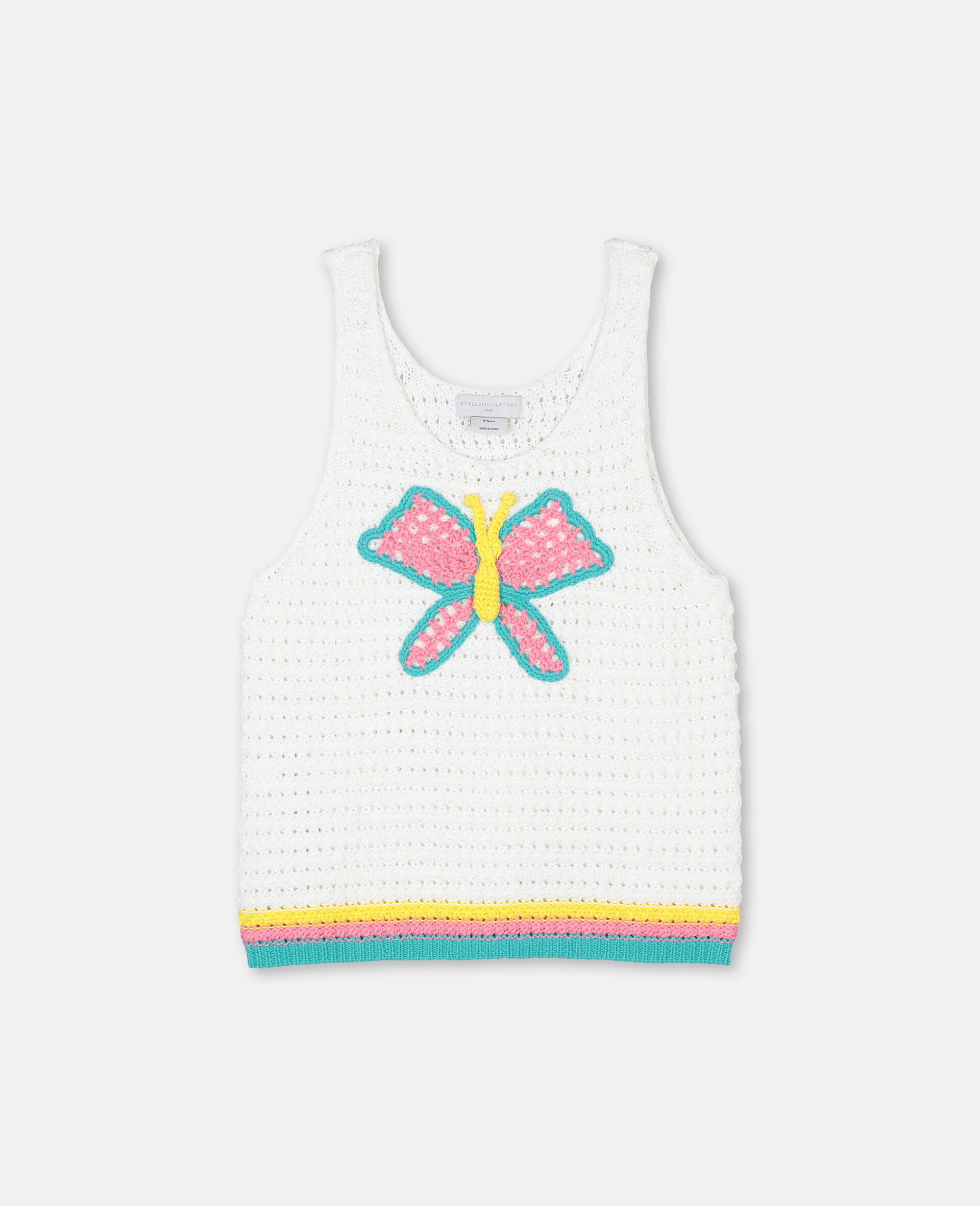 Butterfly Crochet Cotton Top-White-large image number 0