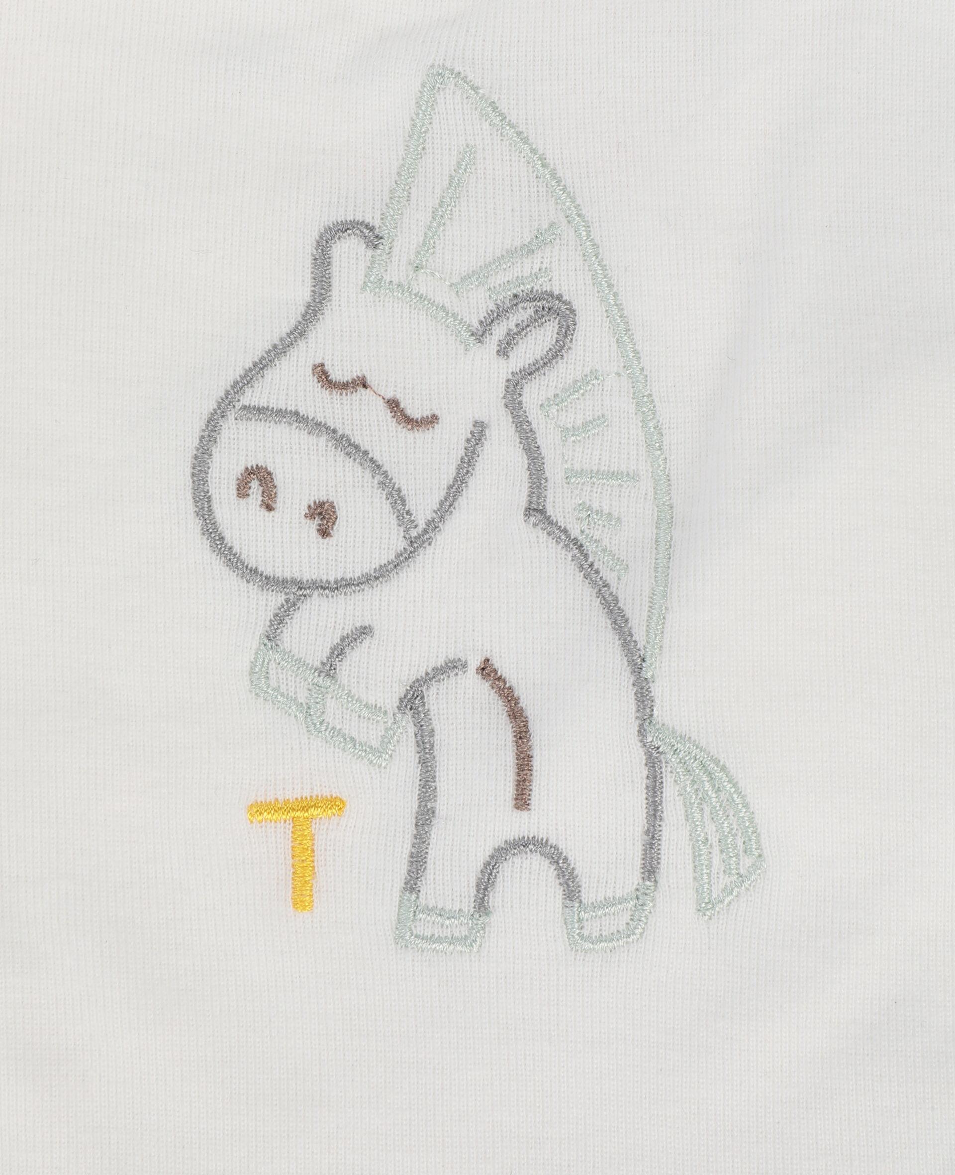 小马刺绣平纹针织罗纹围嘴套装-白色-large image number 2