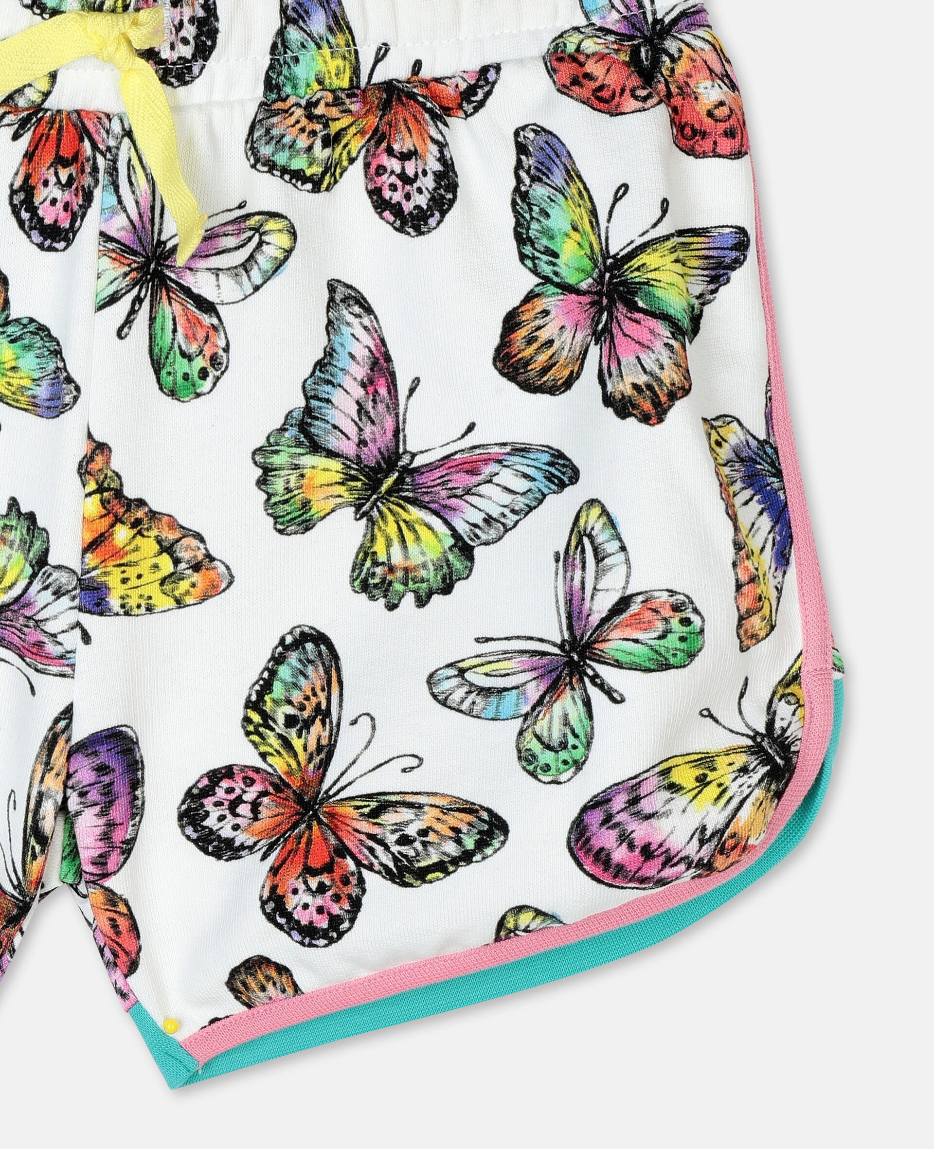 Butterfly Cotton Fleece Shorts-Multicolour-large image number 1
