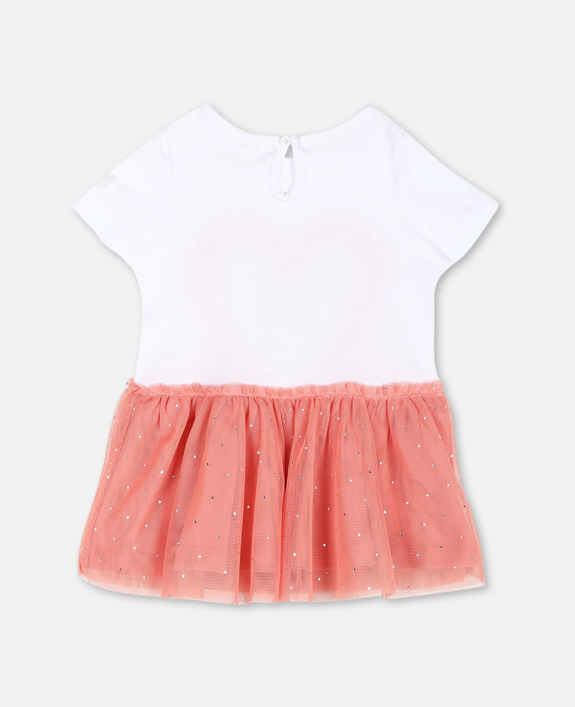 Flamingo Jersey and Tulle Dress-White-large image number 3