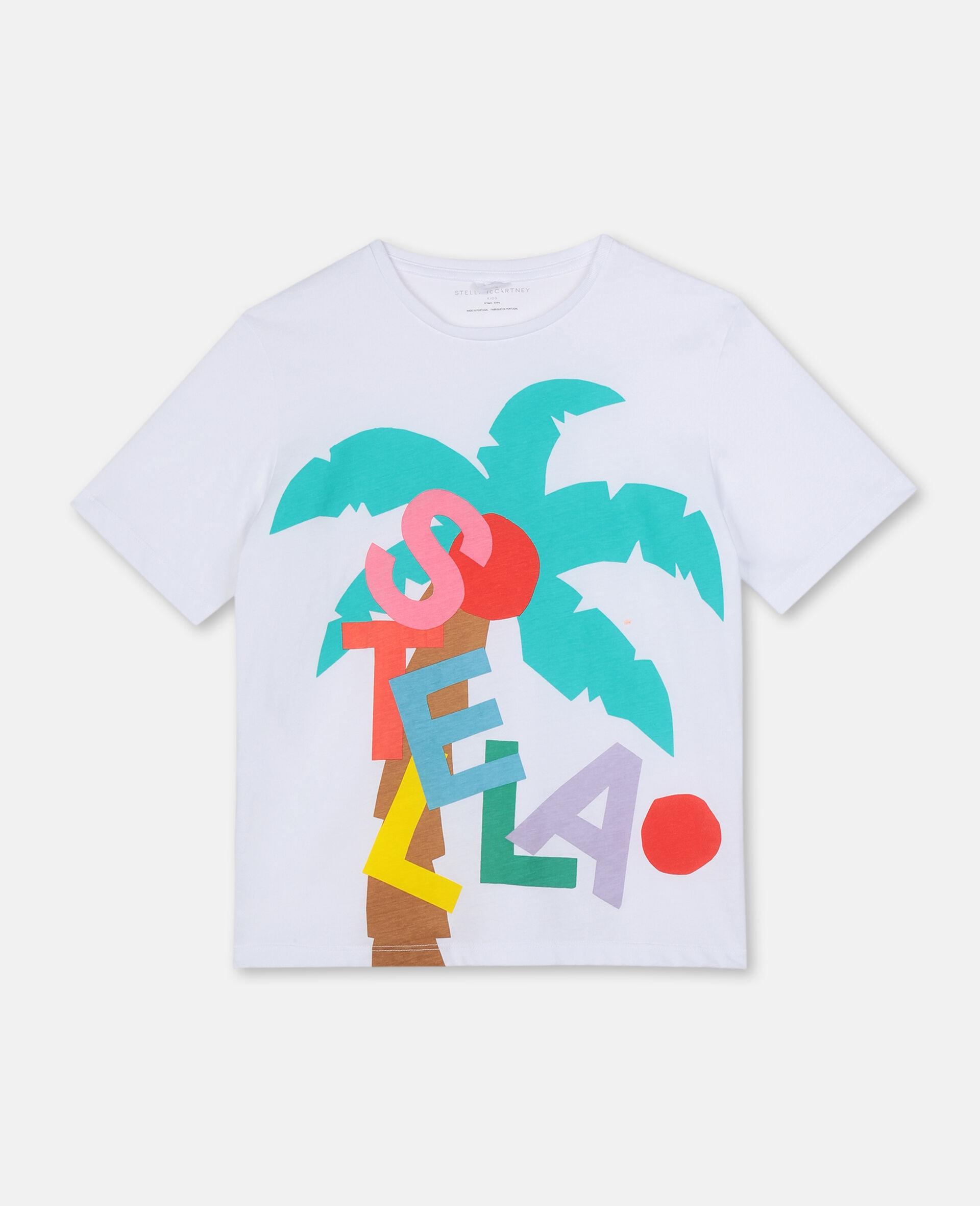 T-shirt oversize avec motif carte postale-Blanc-large image number 0