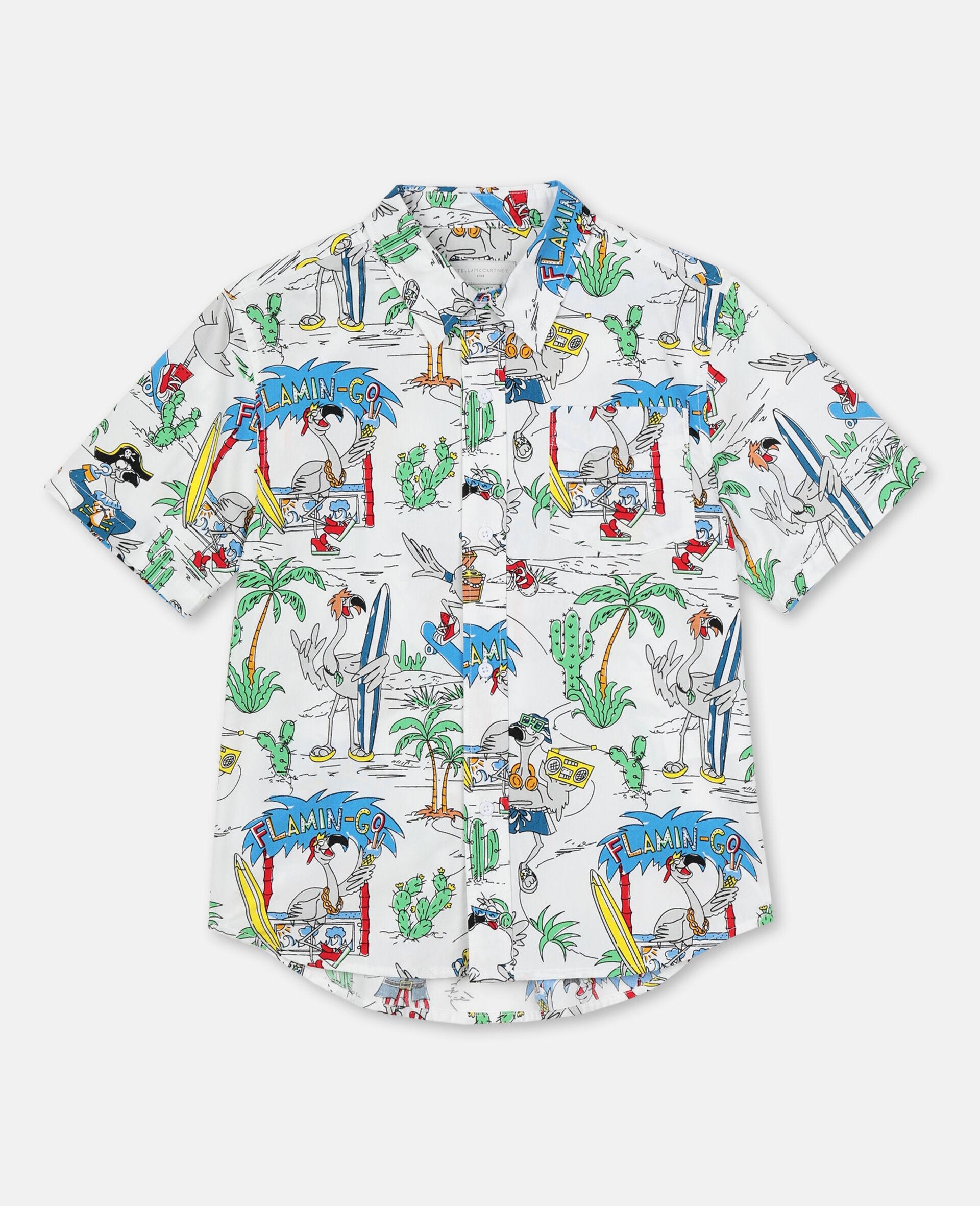 Oversize Flamingo Land Cotton Shirt -Multicolour-large image number 0