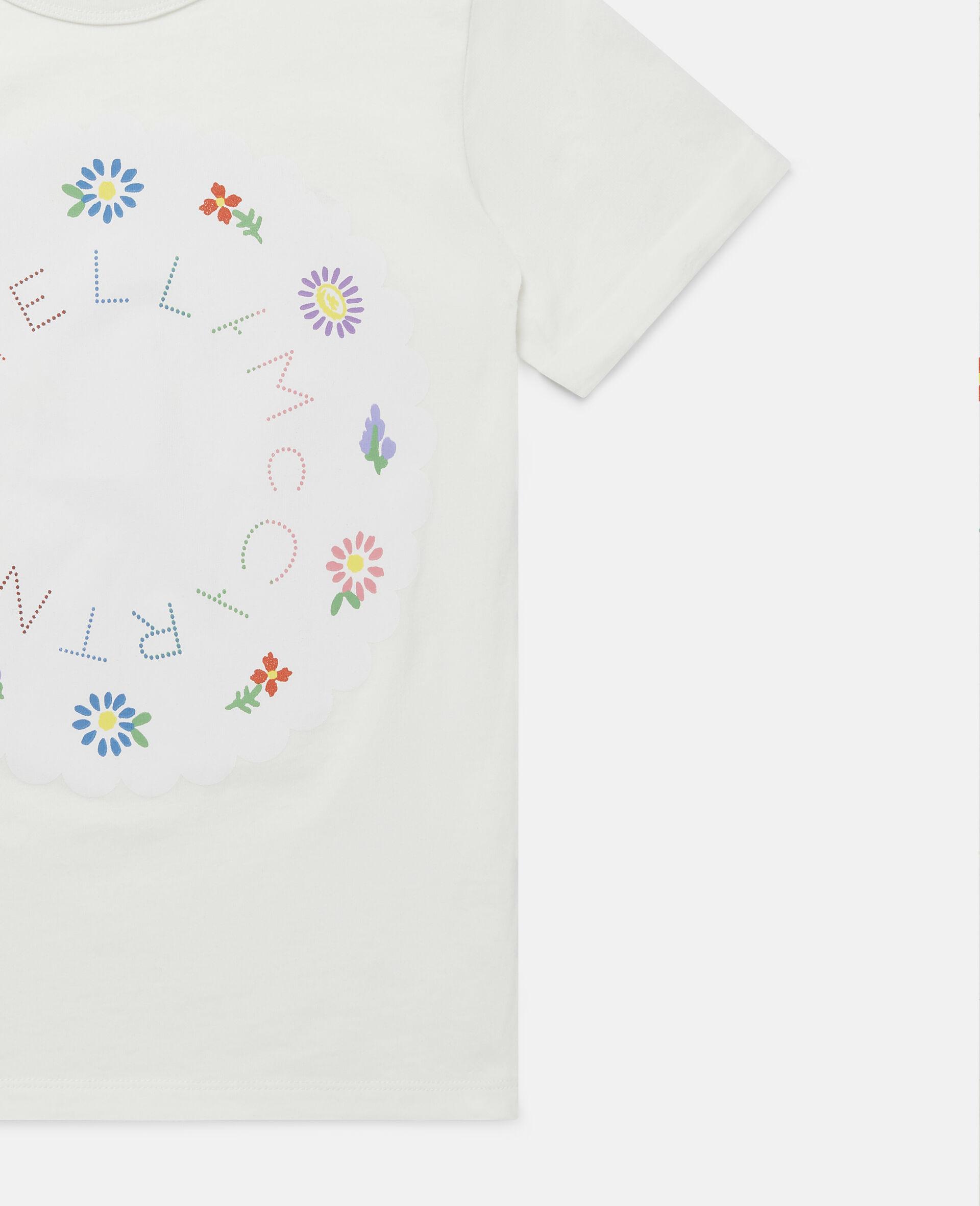 T-shirt con Logo e Fiori-Bianco-large image number 1