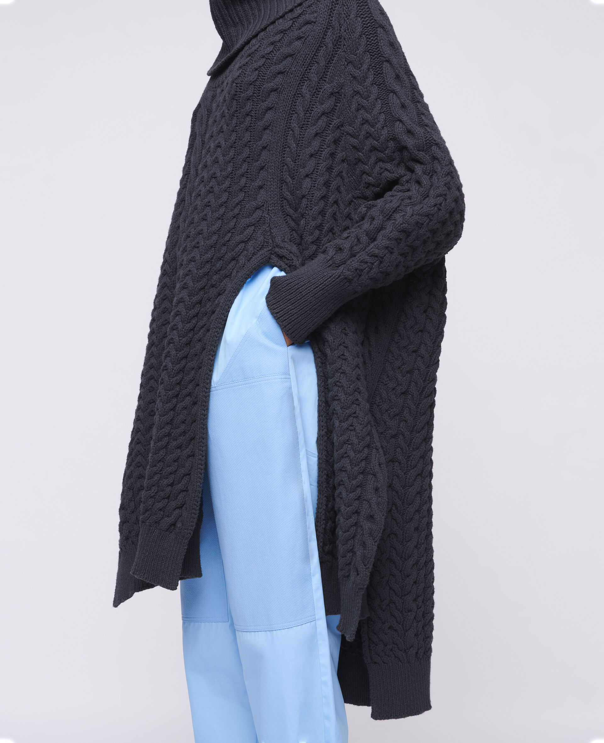Aran Stitch Cape-Blue-large image number 3